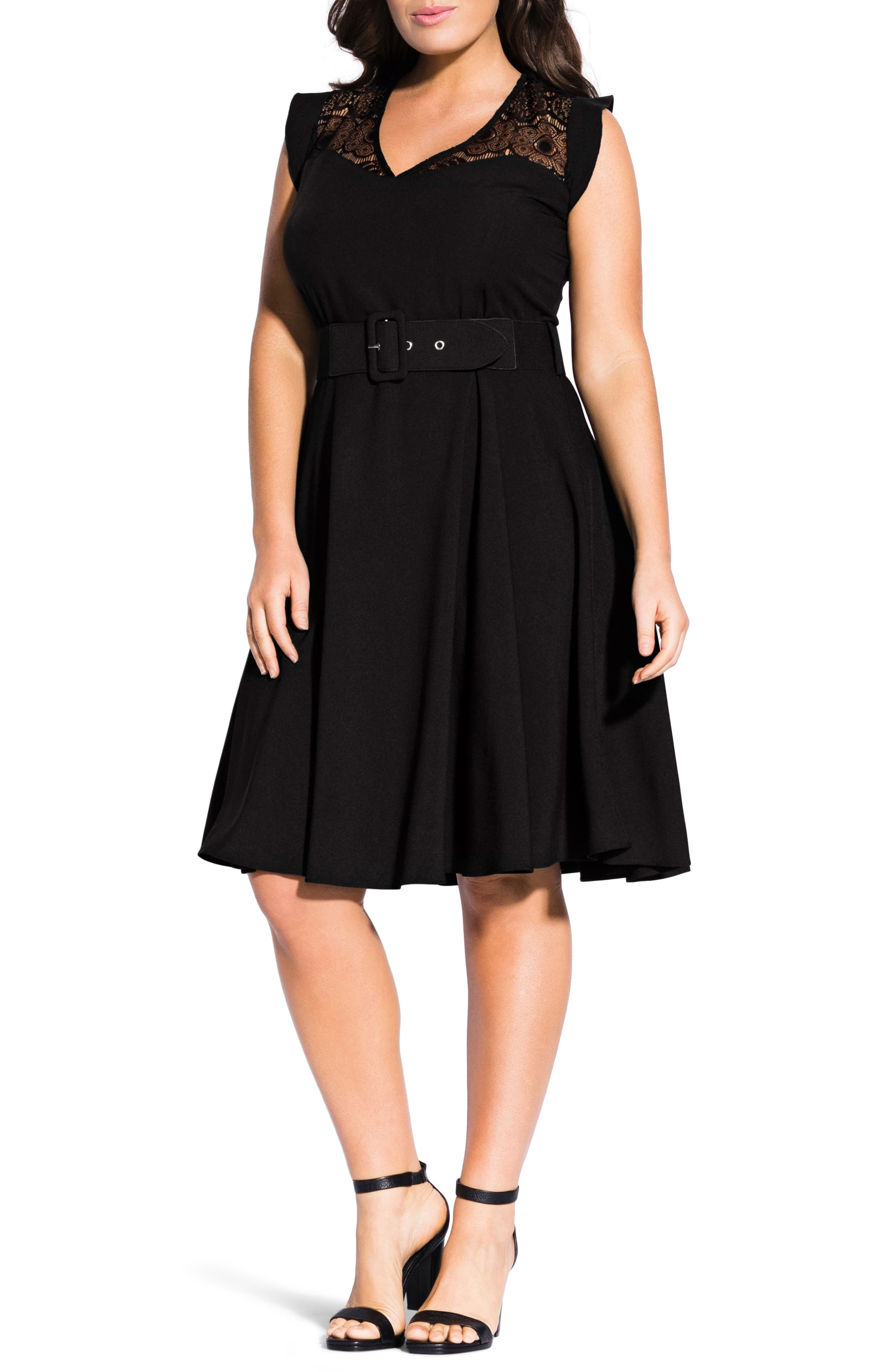 CITY CHIC, Lace Yoke Fit & Flare Dress, Main thumbnail 1, color, BLACK