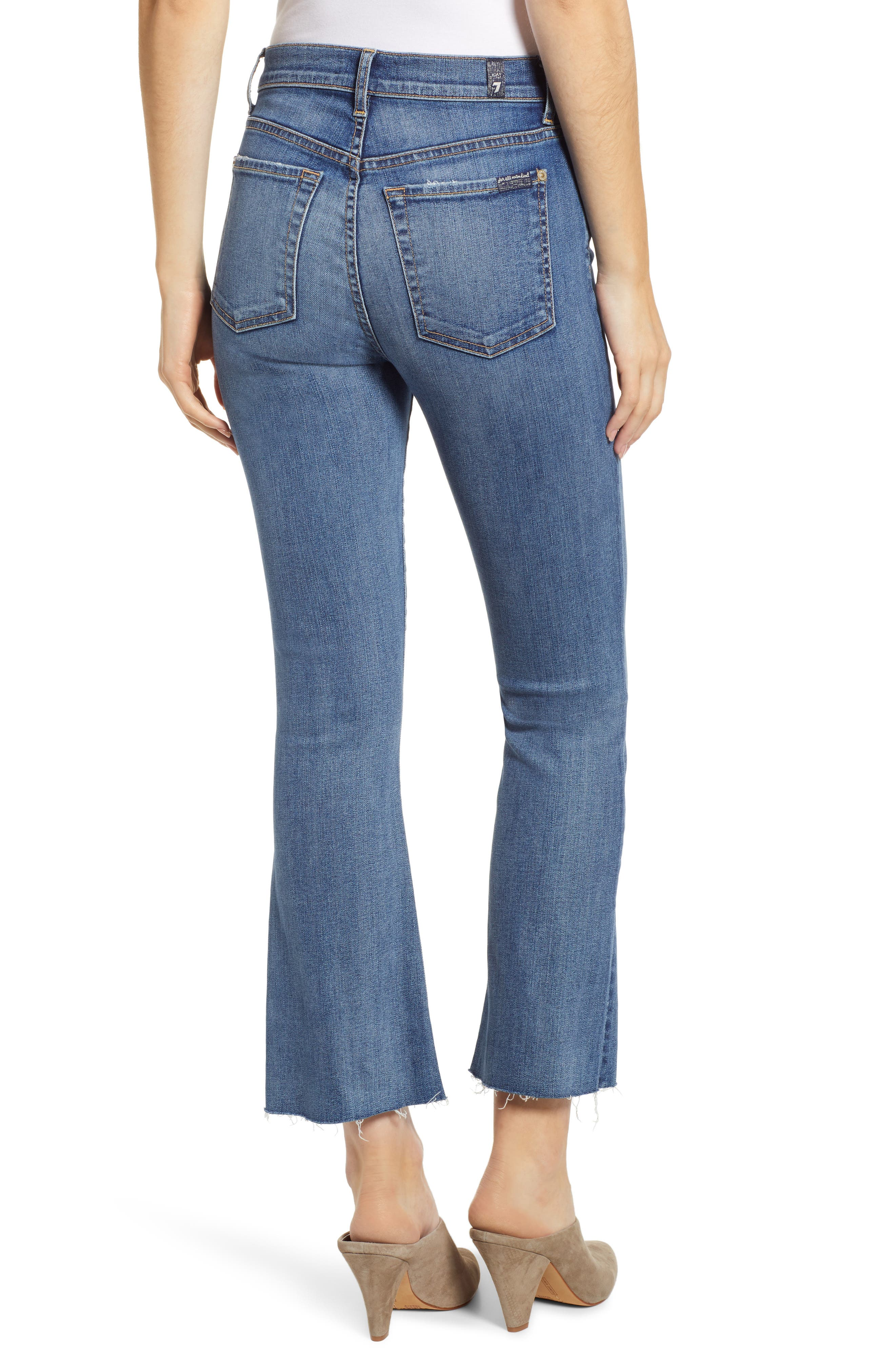 7 FOR ALL MANKIND<SUP>®</SUP>, High Waist Slim Crop Flare Jeans, Alternate thumbnail 2, color, CANYON RANCH