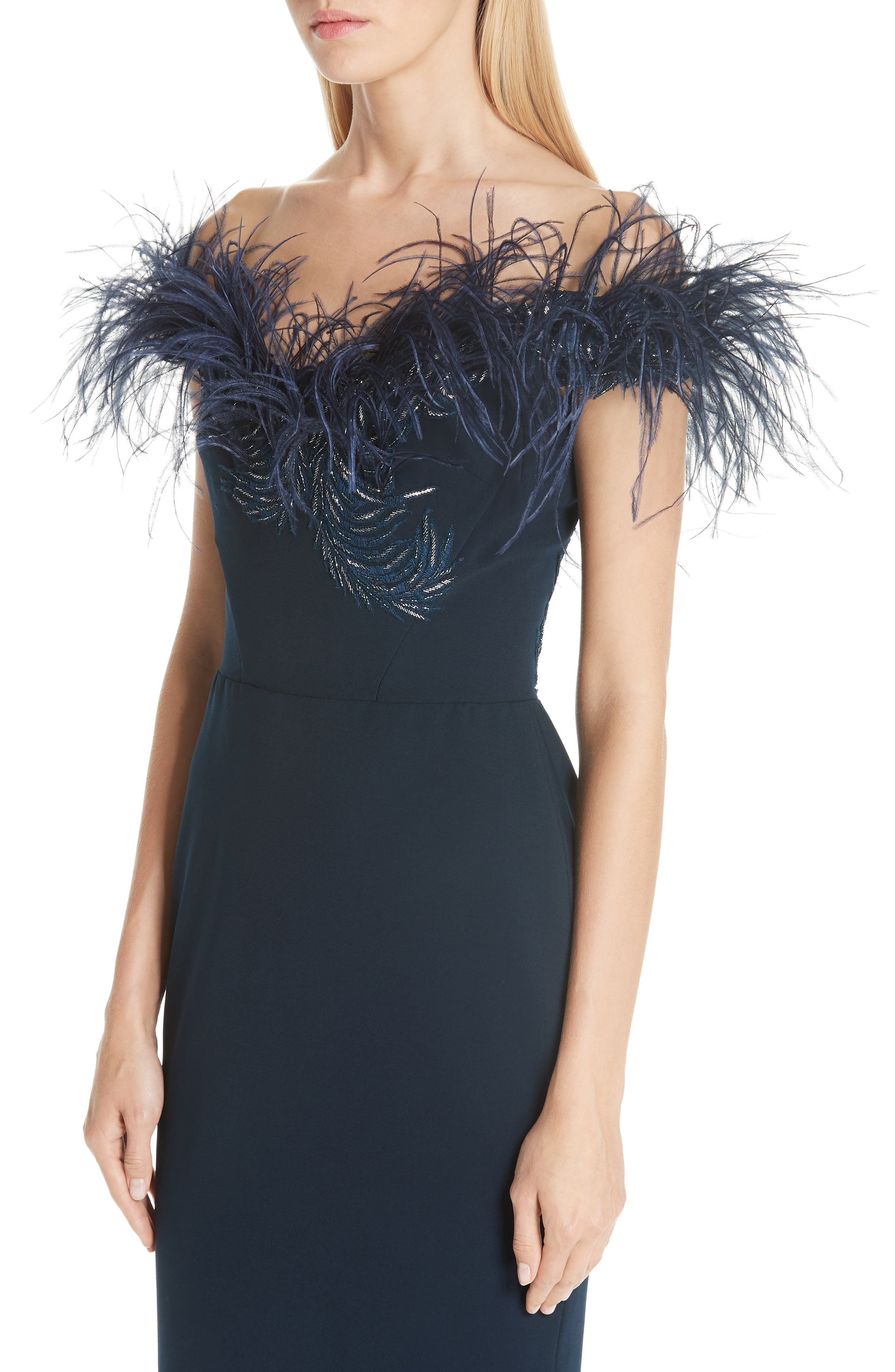 MARCHESA, Off the Shoulder Feather Cocktail Dress, Alternate thumbnail 4, color, NAVY