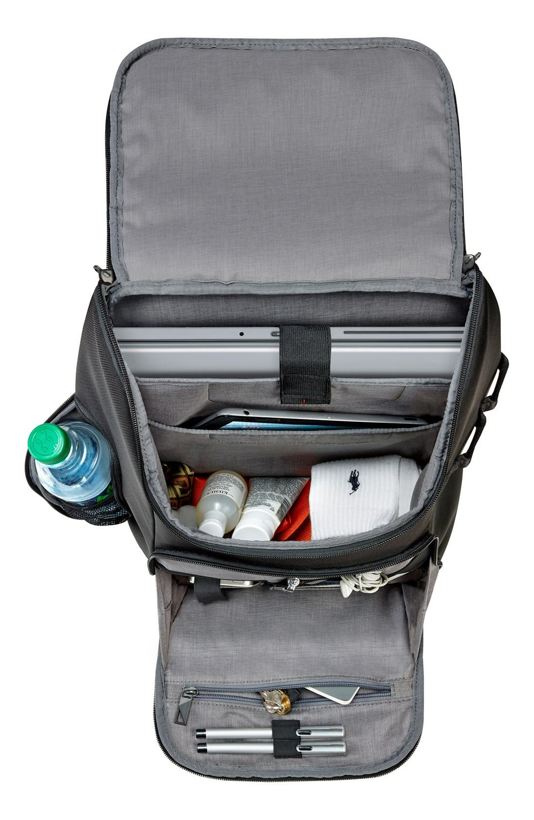 BRIGGS & RILEY, Verb - Advance Water & Wear Resistant Ballistic Nylon Backpack, Alternate thumbnail 3, color, BLACK