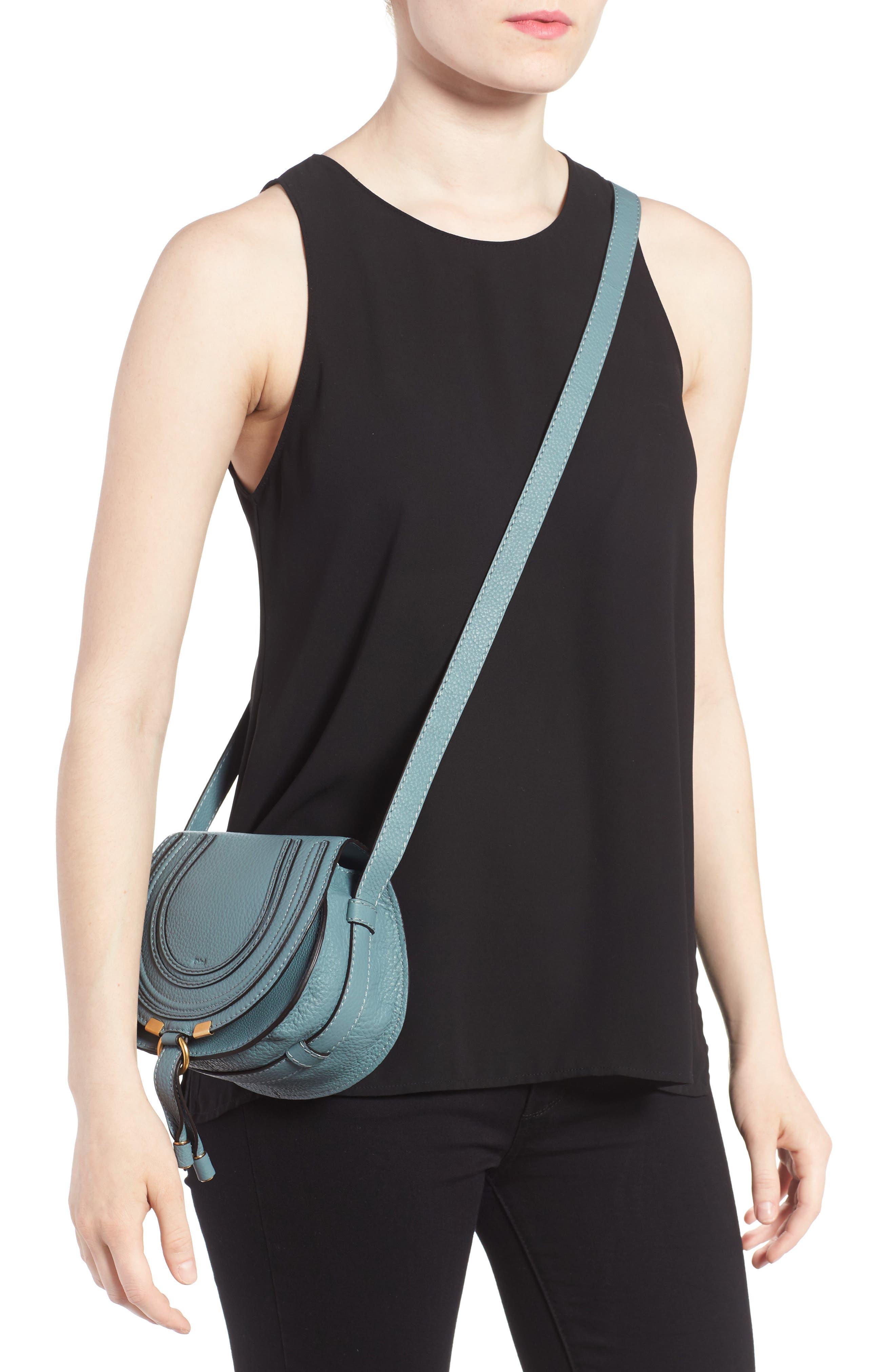 CHLOÉ, 'Mini Marcie' Leather Crossbody Bag, Alternate thumbnail 2, color, BFC CLOUDY BLUE