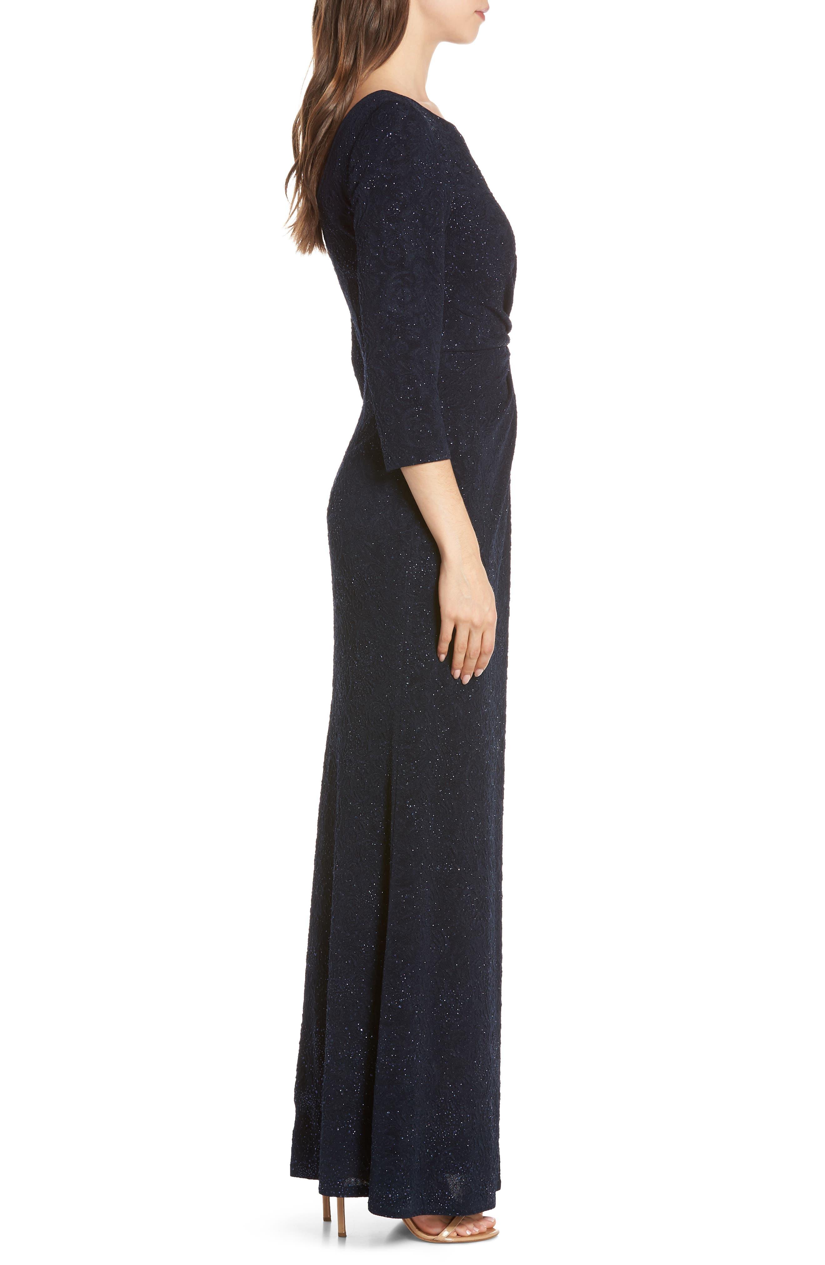 ALEX EVENINGS, Knot Front Sequin Jacquard Evening Dress, Alternate thumbnail 4, color, NAVY