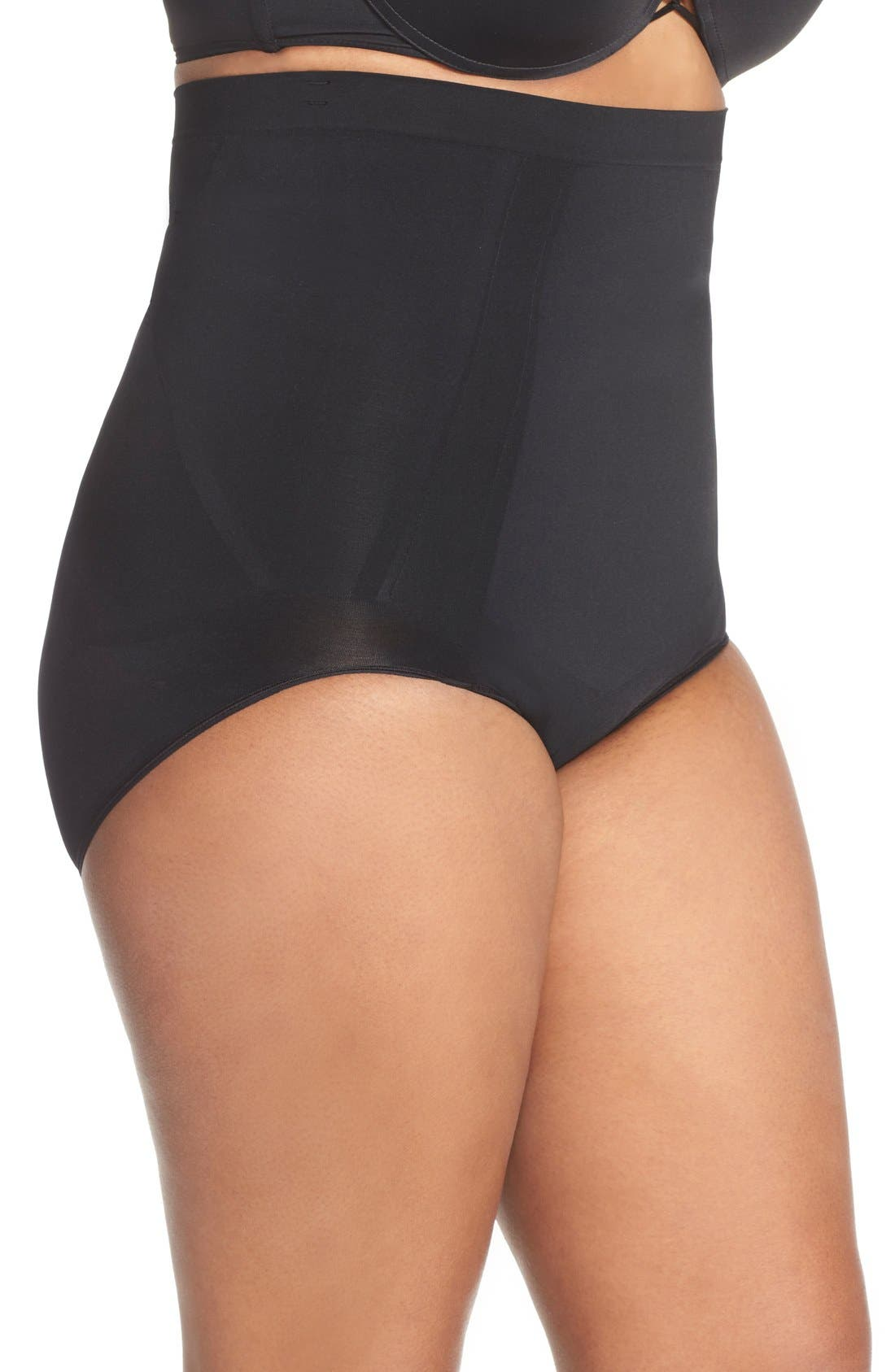 SPANX<SUP>®</SUP>, OnCore High Waist Briefs, Alternate thumbnail 3, color, VERY BLACK