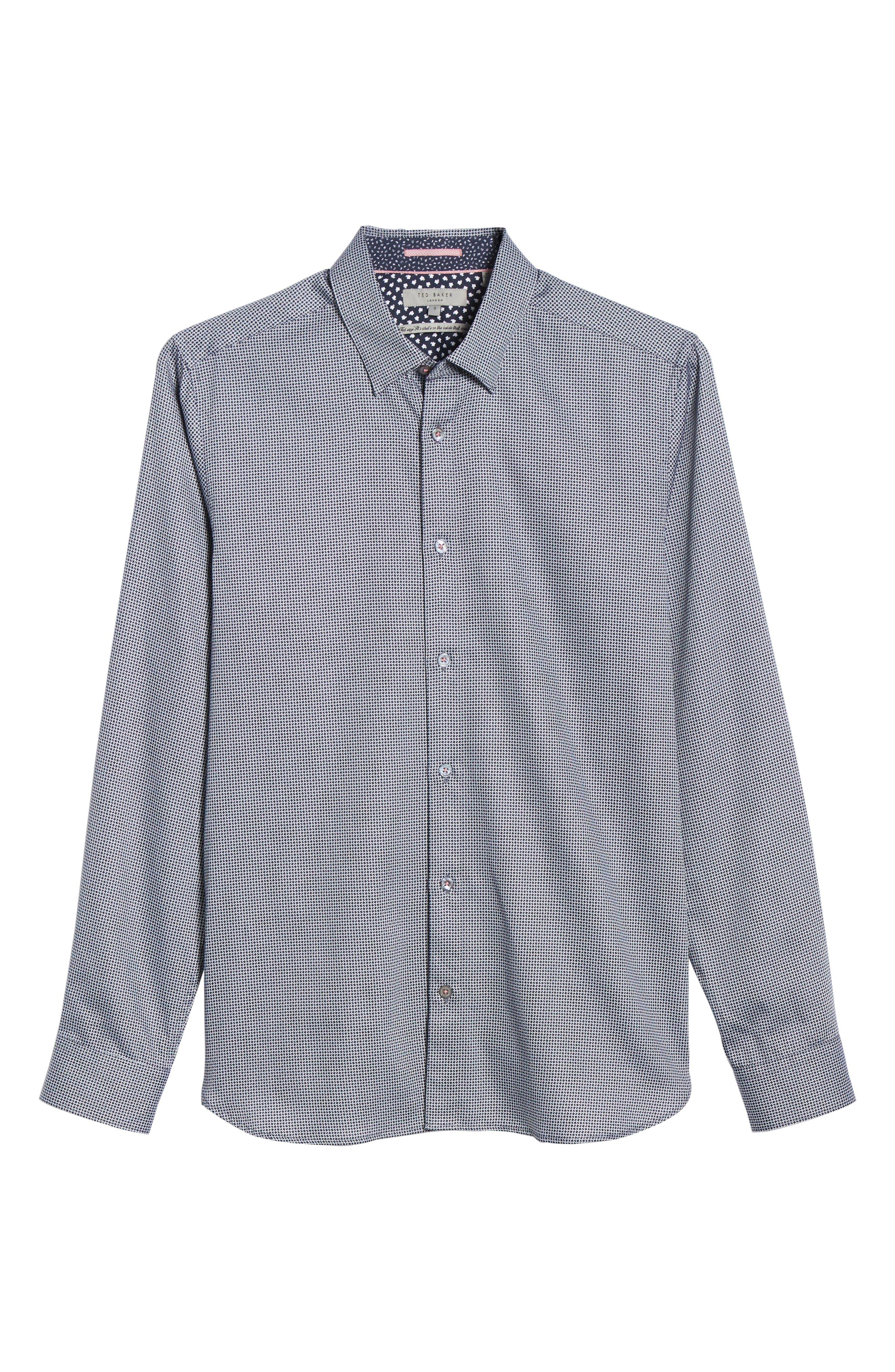 TED BAKER LONDON, Bloosem Slim Fit Print Sport Shirt, Alternate thumbnail 5, color, NAVY