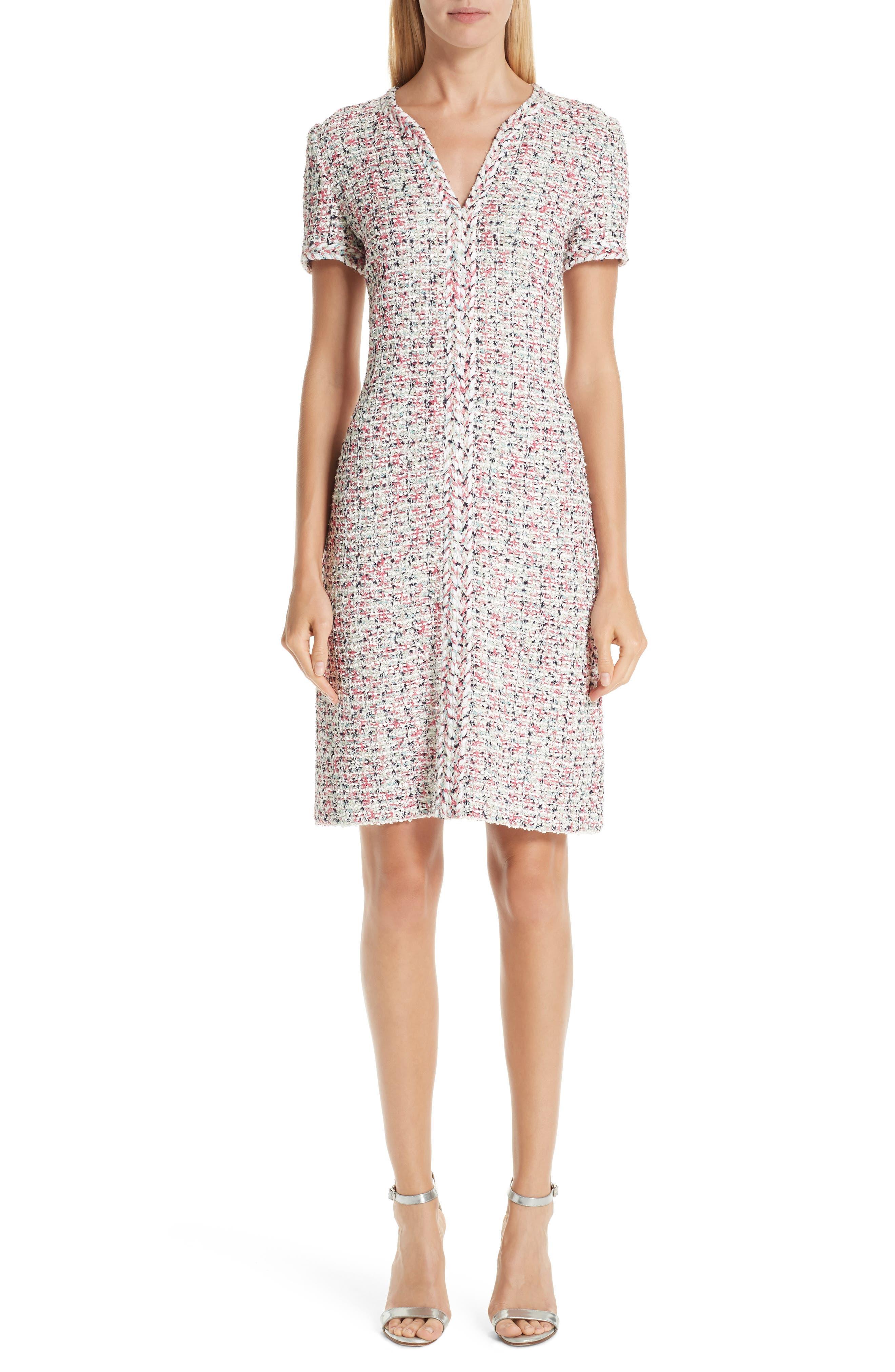 ST. JOHN COLLECTION, Modern Knit Dress, Main thumbnail 1, color, CREAM MULTI