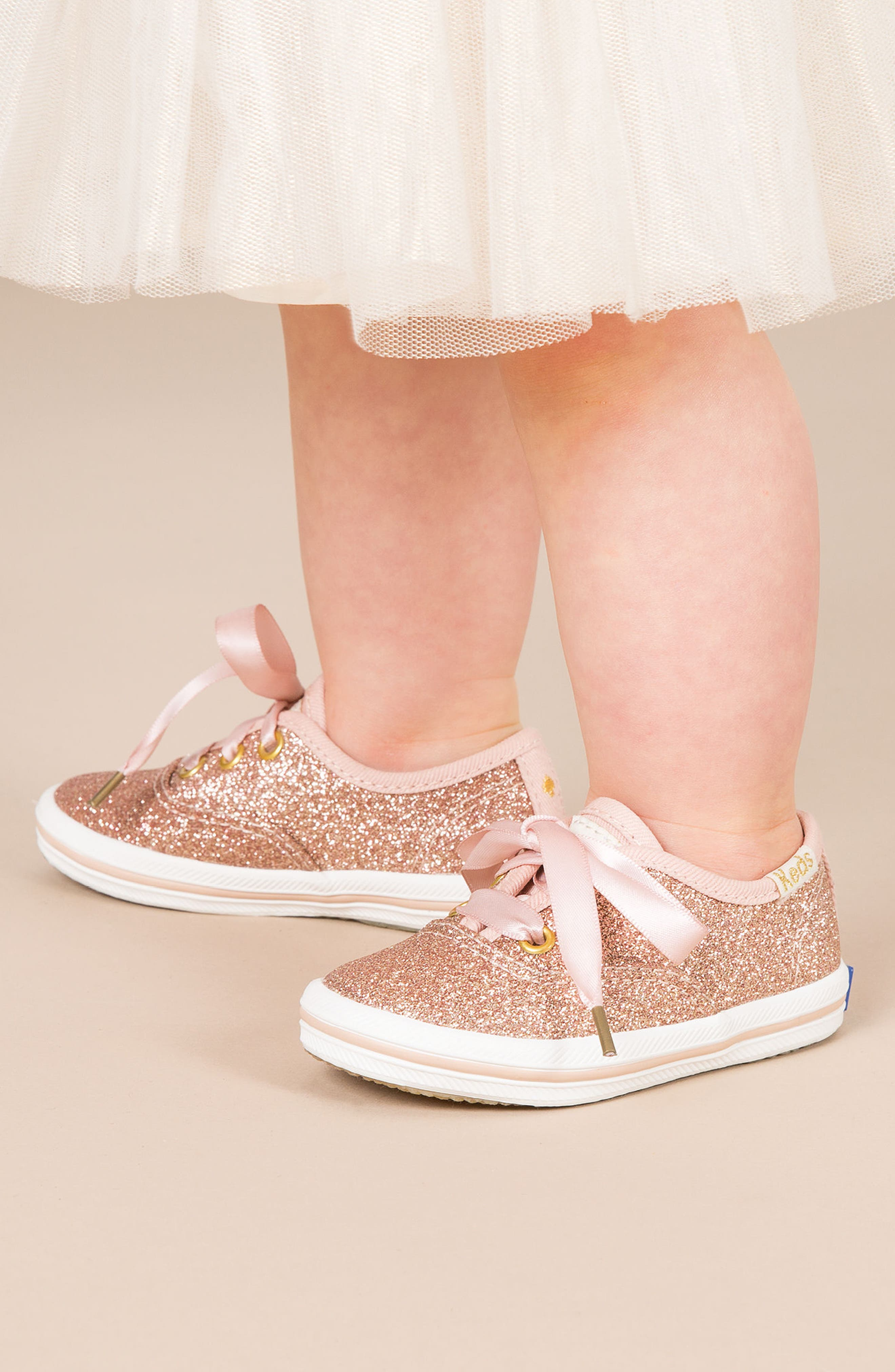 KEDS<SUP>®</SUP>, x kate spade new york Champion Glitter Sneaker, Alternate thumbnail 8, color, BLACK