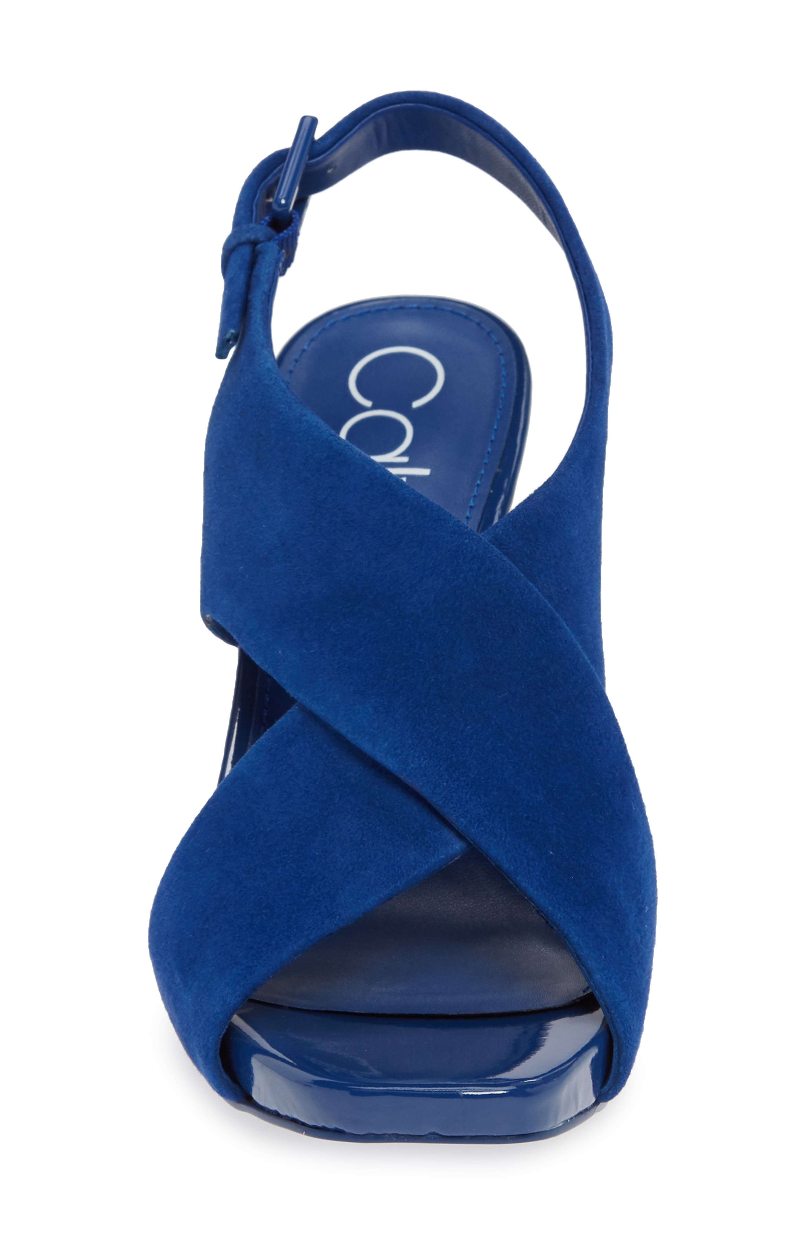 CALVIN KLEIN, Myra Cross Strap Sandal, Alternate thumbnail 4, color, ROYAL BLUE SUEDE