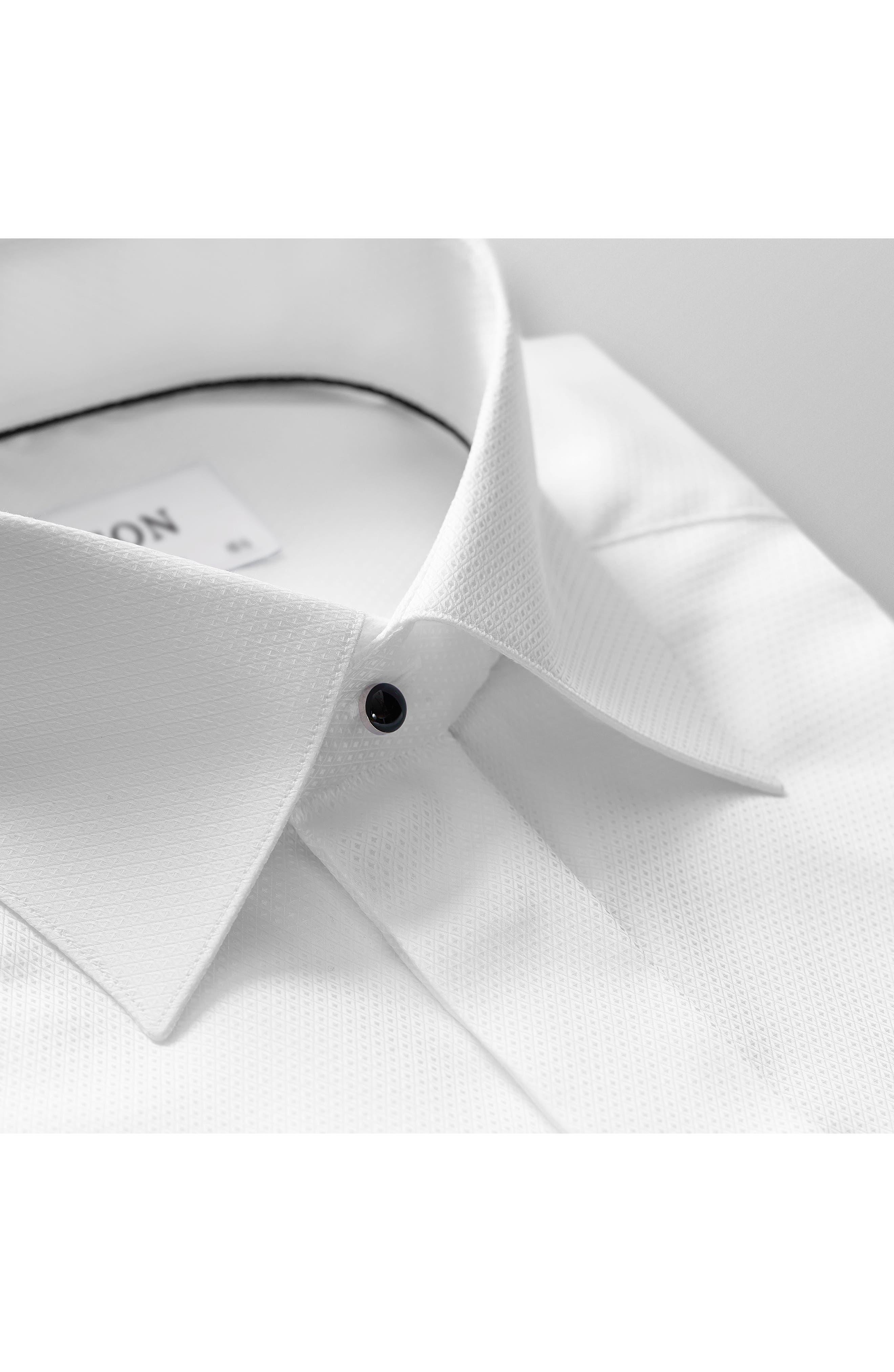 ETON, Contemporary Fit Diamond Weave Tuxedo Shirt, Alternate thumbnail 6, color, WHITE