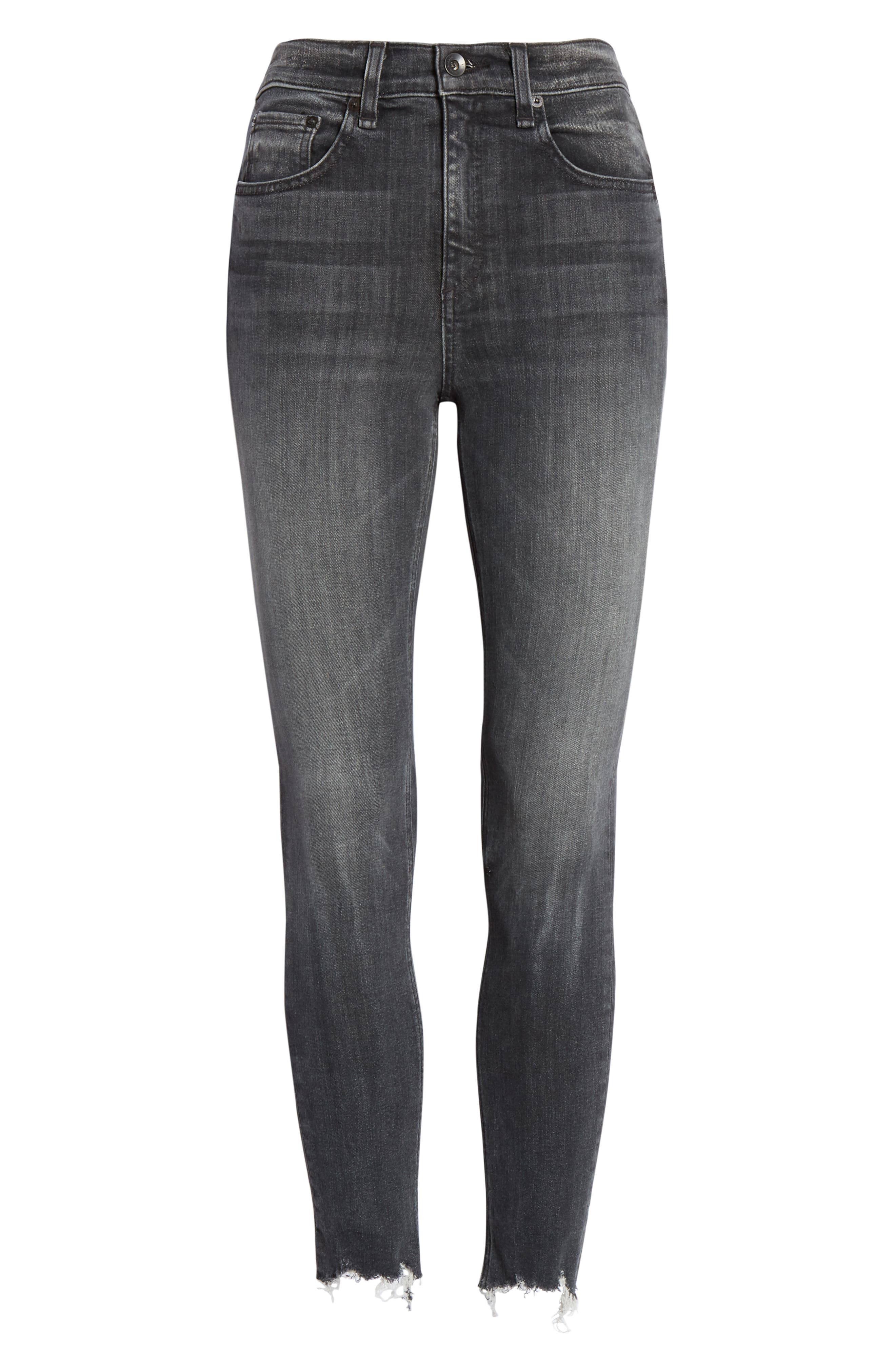 RAG & BONE, High Waist Raw Hem Crop Skinny Jeans, Alternate thumbnail 6, color, BRANDI