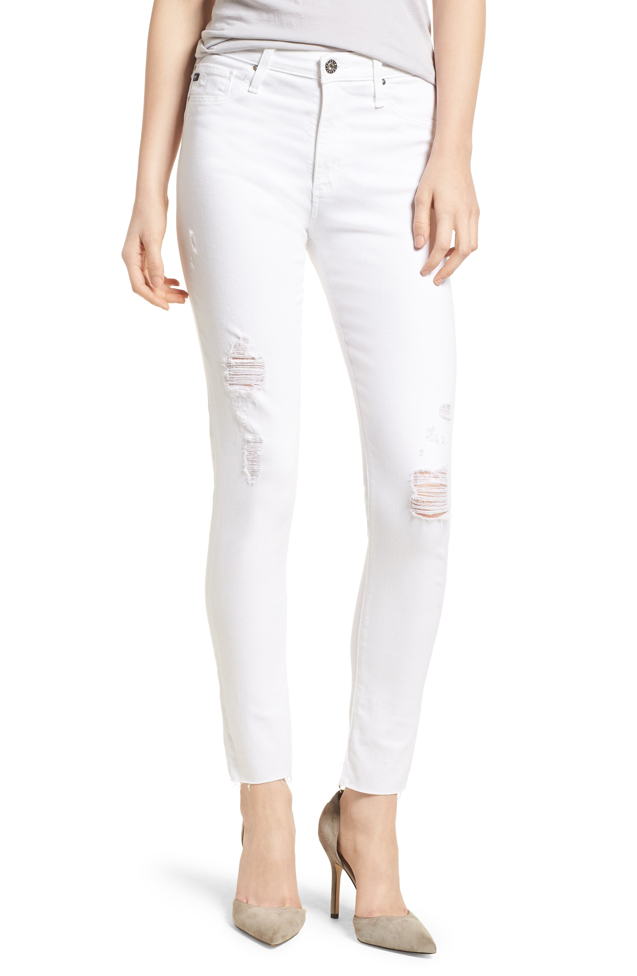 AG The Farrah High Waist Ankle Skinny Jeans, Main, color, UNCHARTED WHITE