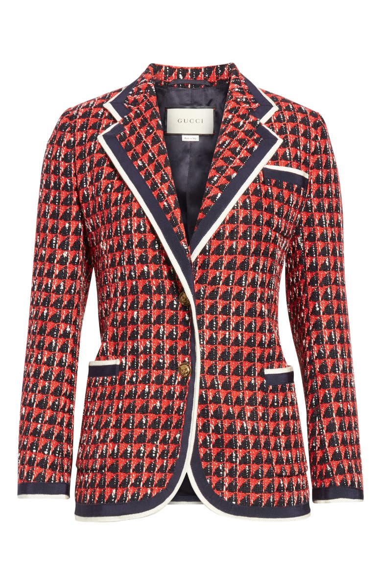 5a6e73dca88 Gucci Geometric Tweed Blazer Jacket In Red | ModeSens