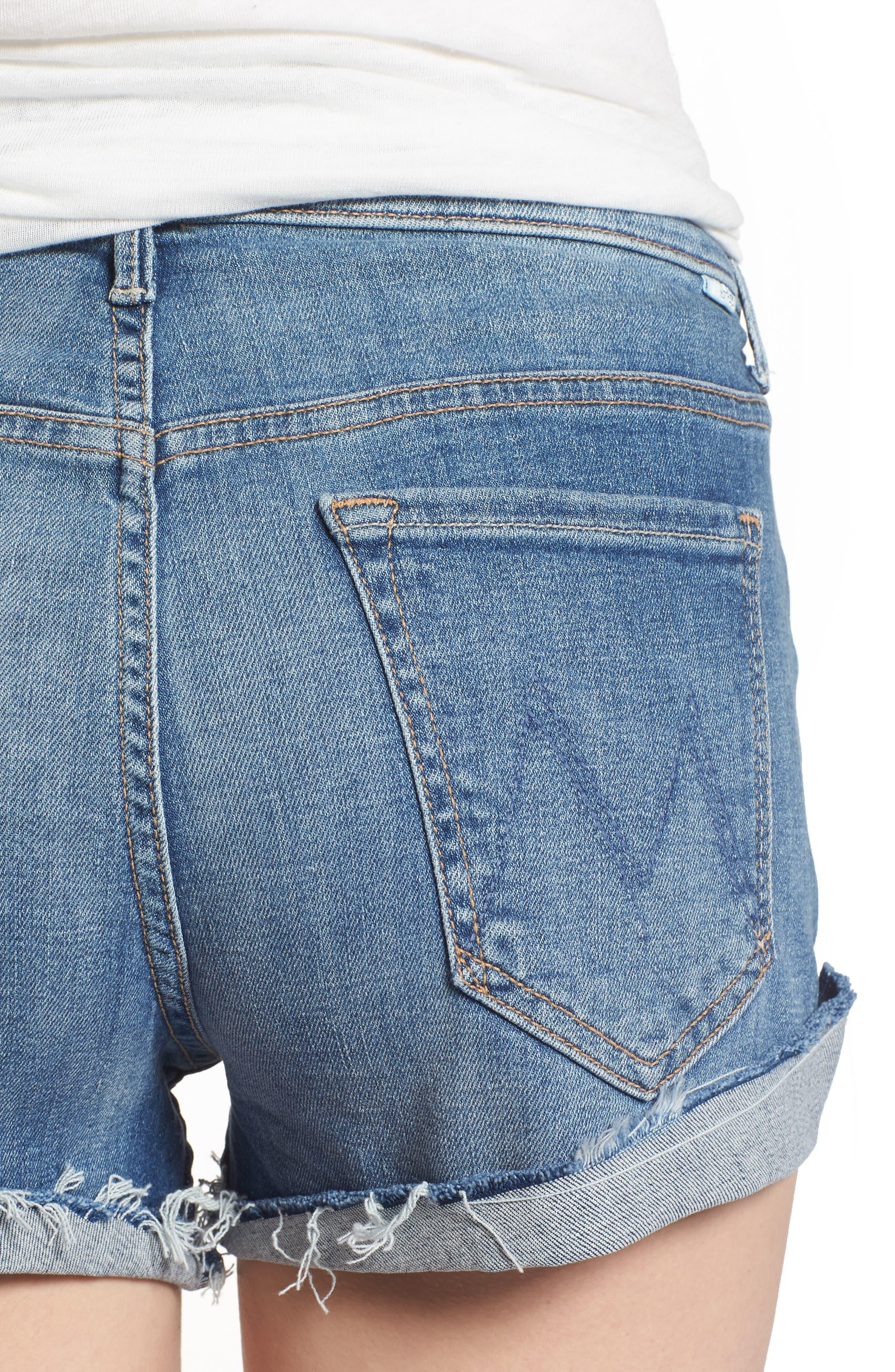 MOTHER, The Rascal Slit Flip Denim Shorts, Alternate thumbnail 5, color, ONE SMART COOKIE