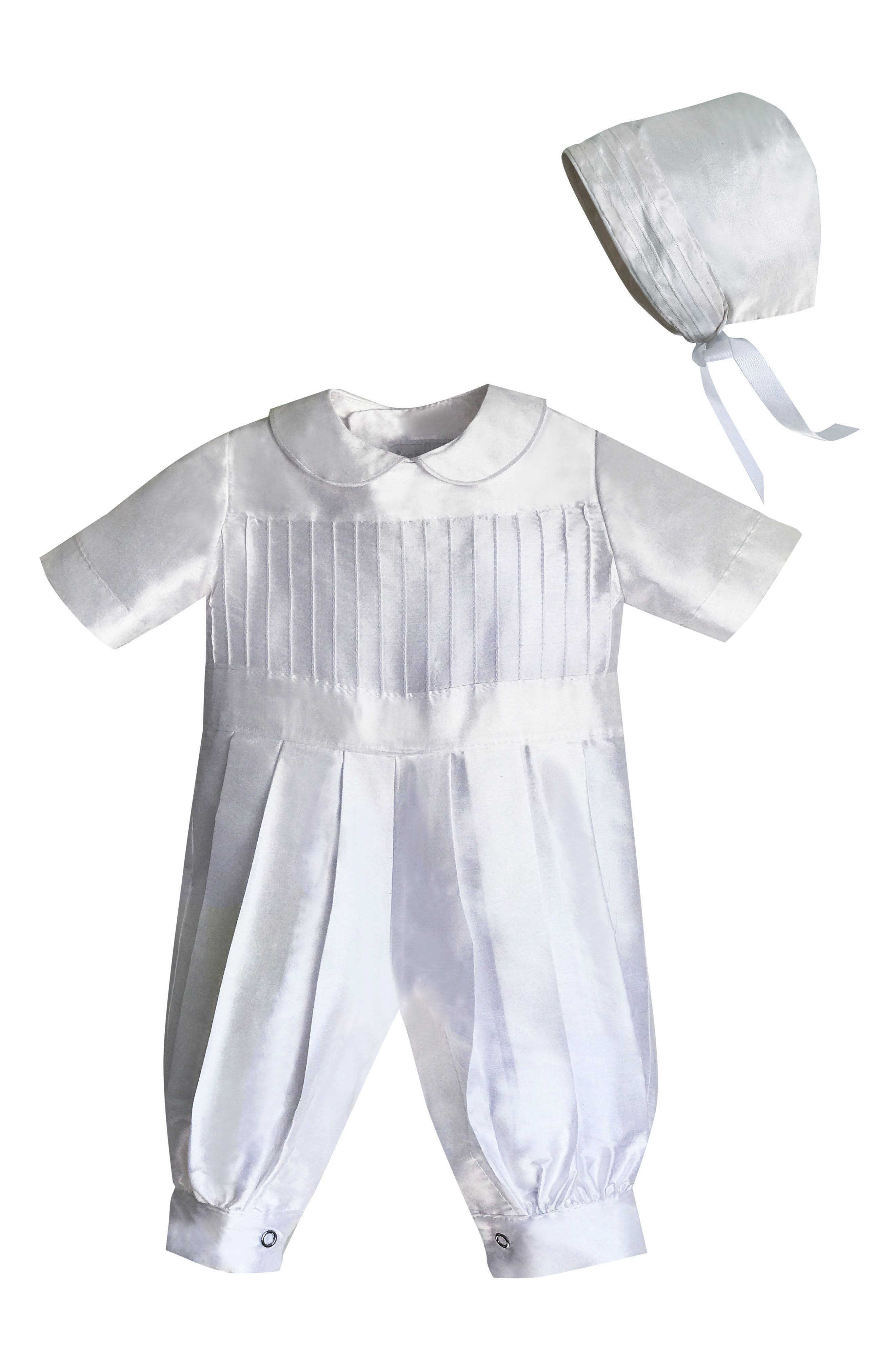 ISABEL GARRETON, Tucked Silk Romper & Bonnet, Main thumbnail 1, color, WHITE