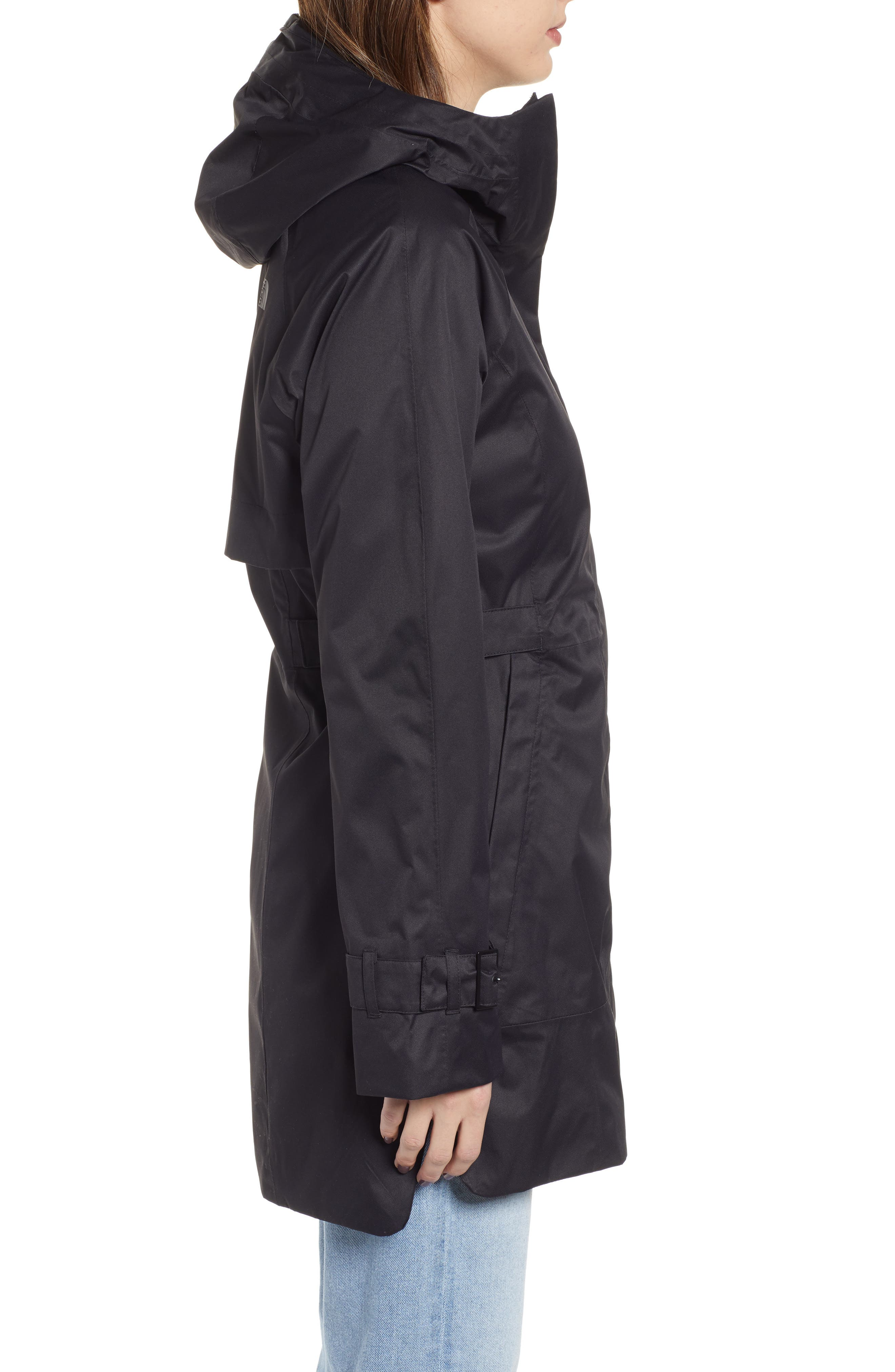 THE NORTH FACE, City Breeze Trench Raincoat, Alternate thumbnail 4, color, TNF BLACK