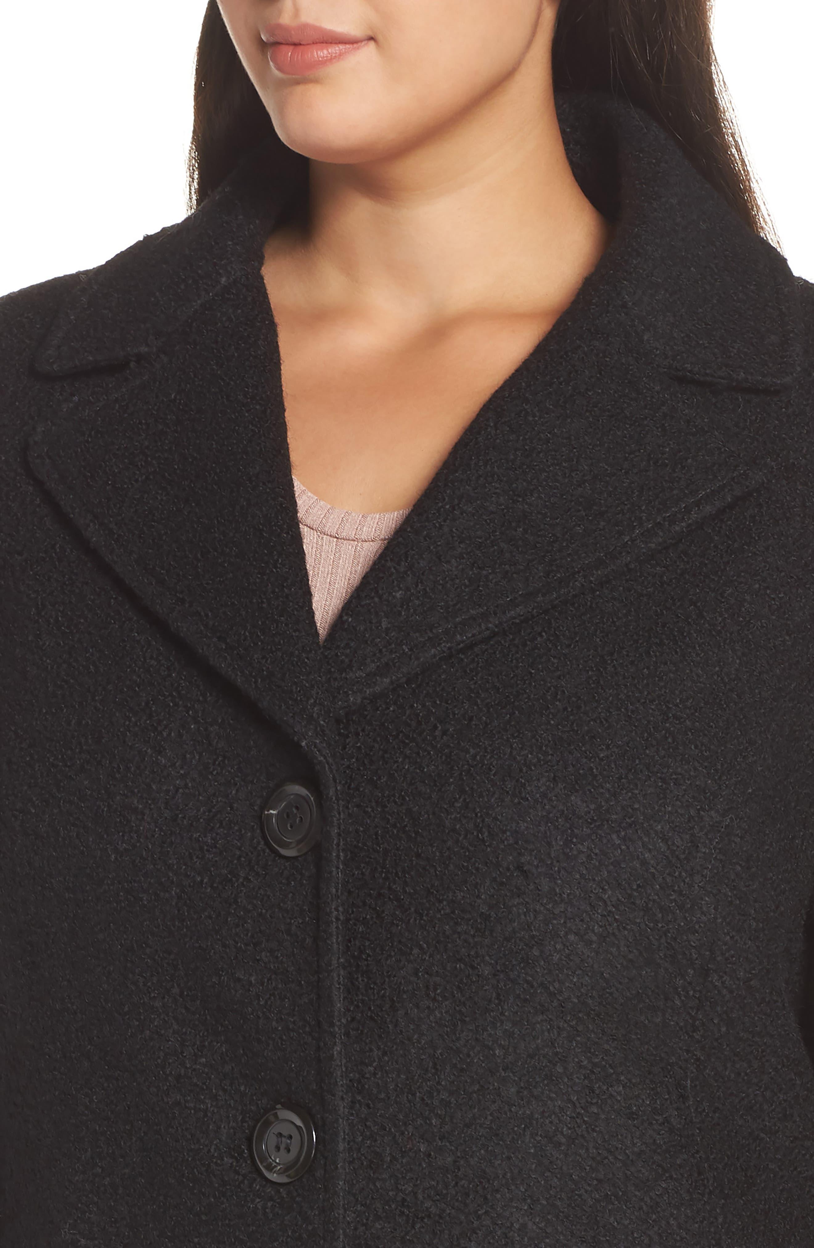 KENSIE, Notch Lapel Peplum Coat, Alternate thumbnail 5, color, BLACK