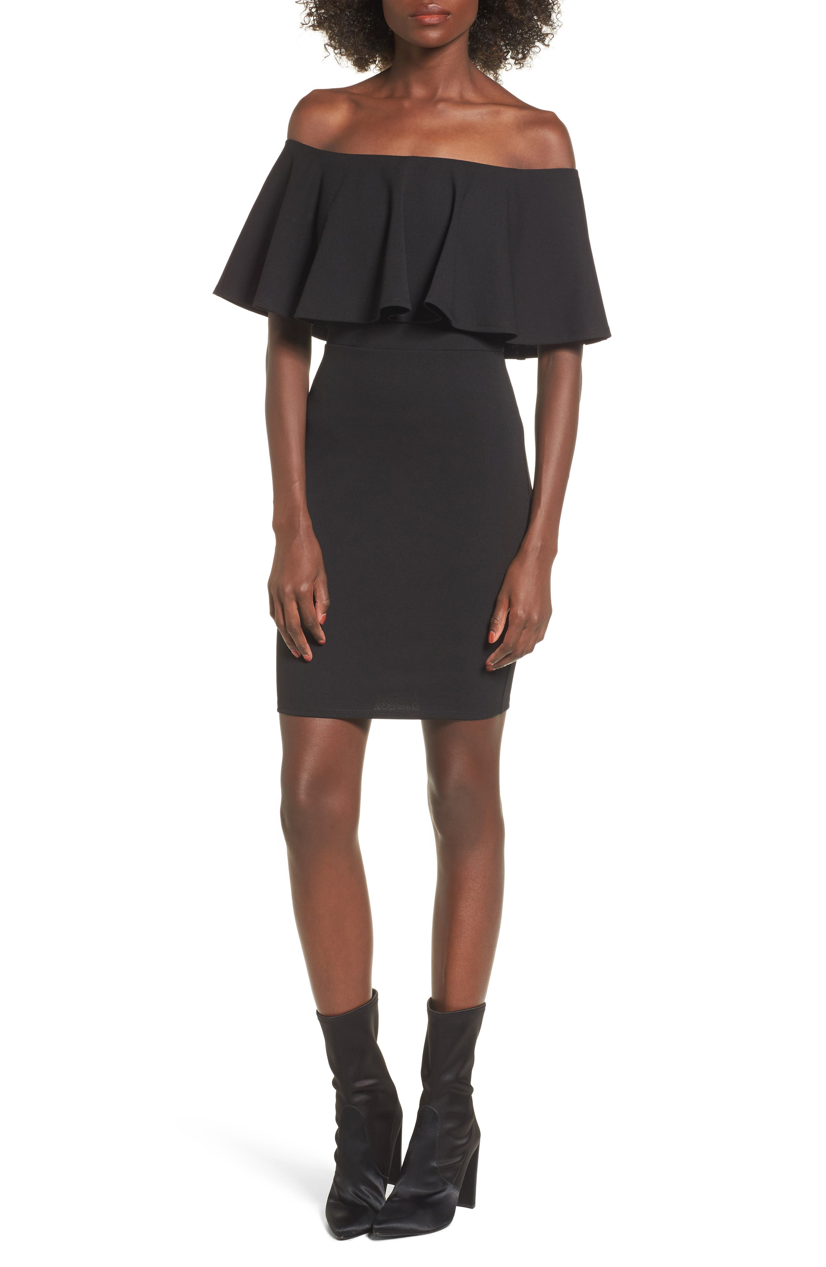 SOPRANO, Ruffle Off the Shoulder Body-Con Dress, Main thumbnail 1, color, 001