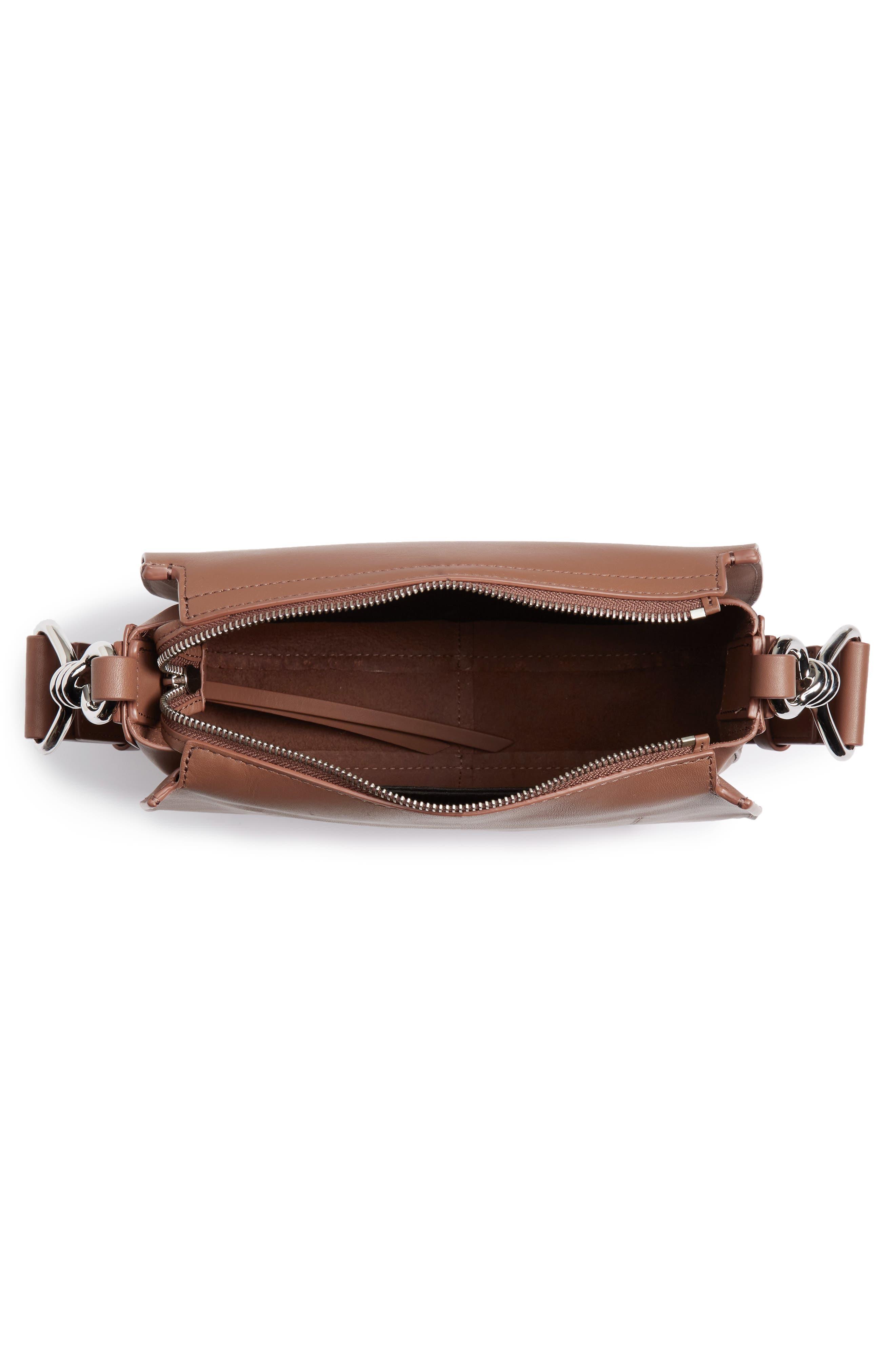 ALLSAINTS, Captain Round Leather Crossbody Bag, Alternate thumbnail 4, color, MILK CHOCOLATE