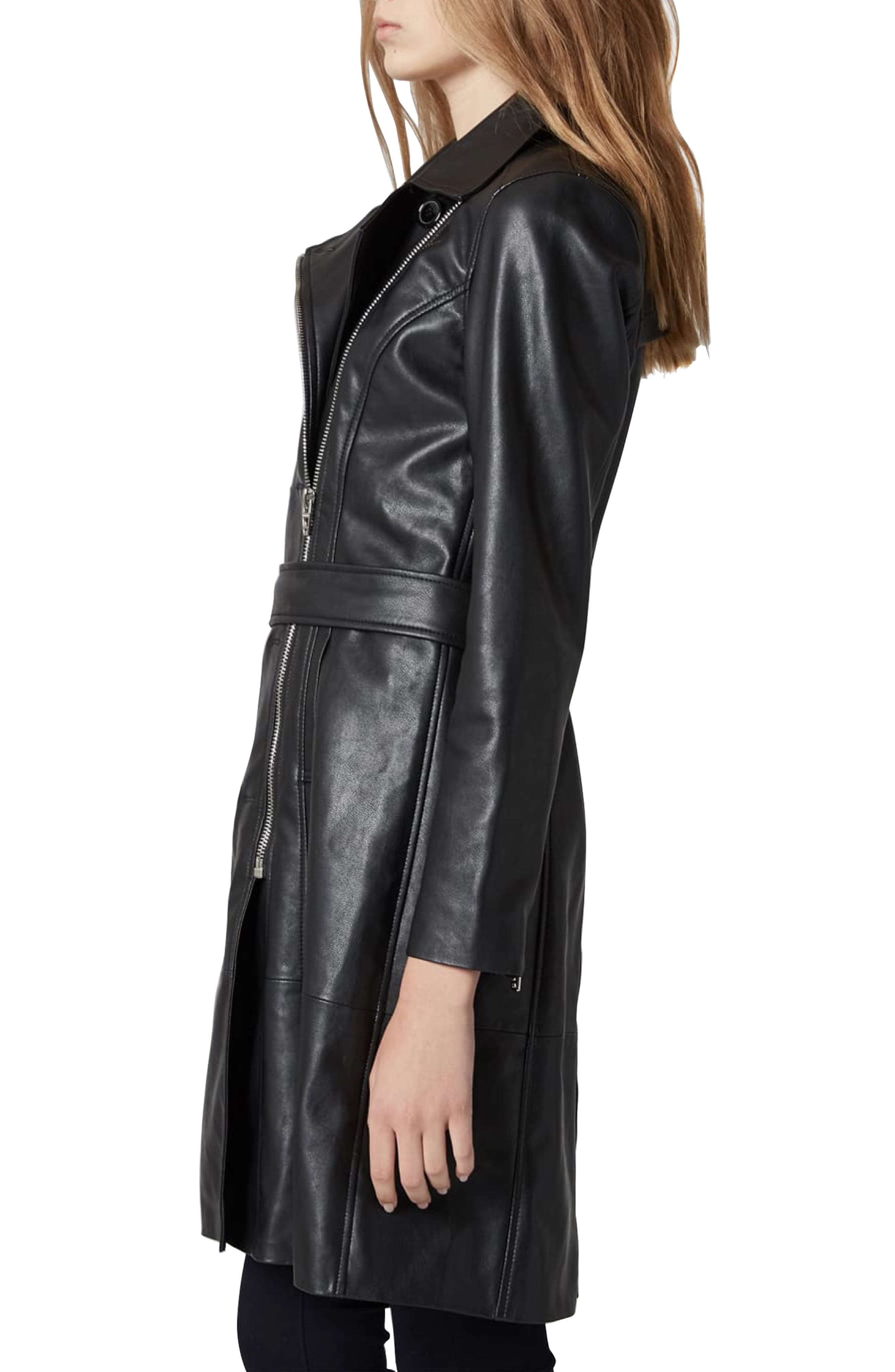 BLANKNYC, Faux Leather Trench Coat, Alternate thumbnail 4, color, PUNISHER