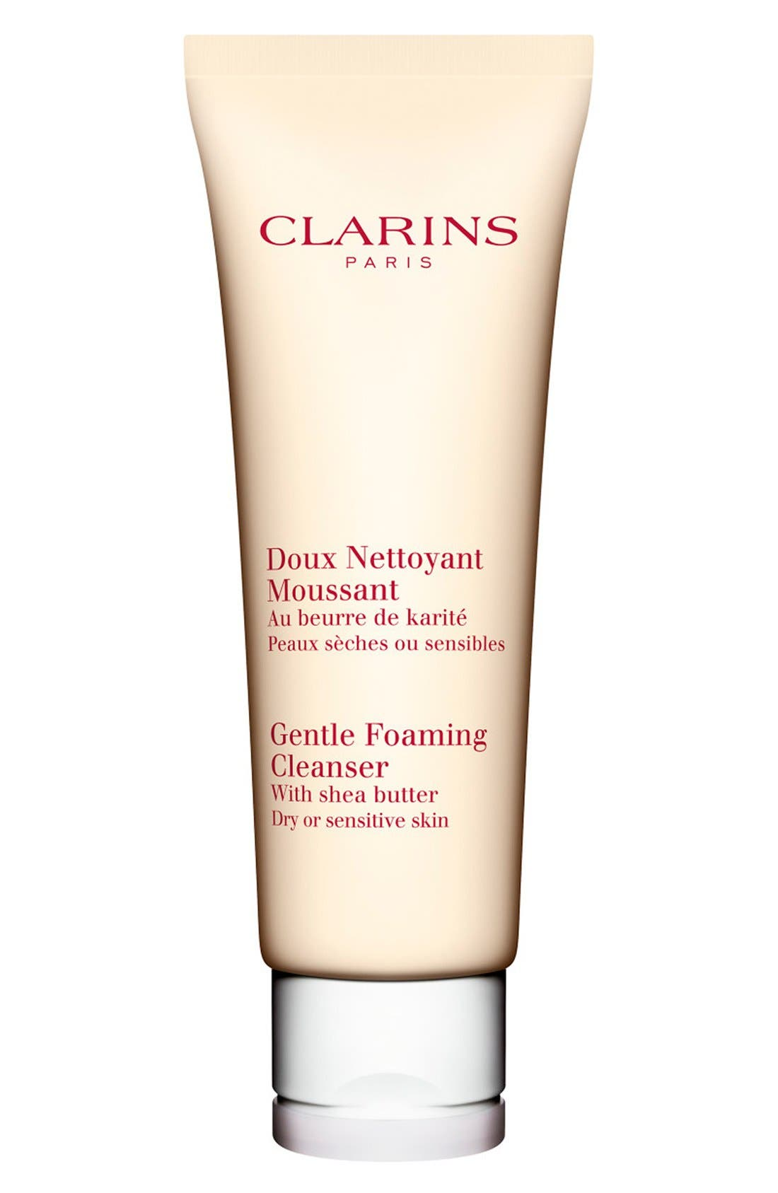 CLARINS, Gentle Foaming Cleanser with Shea Butter for Dry/Sensitive Skin Types, Main thumbnail 1, color, NO COLOR