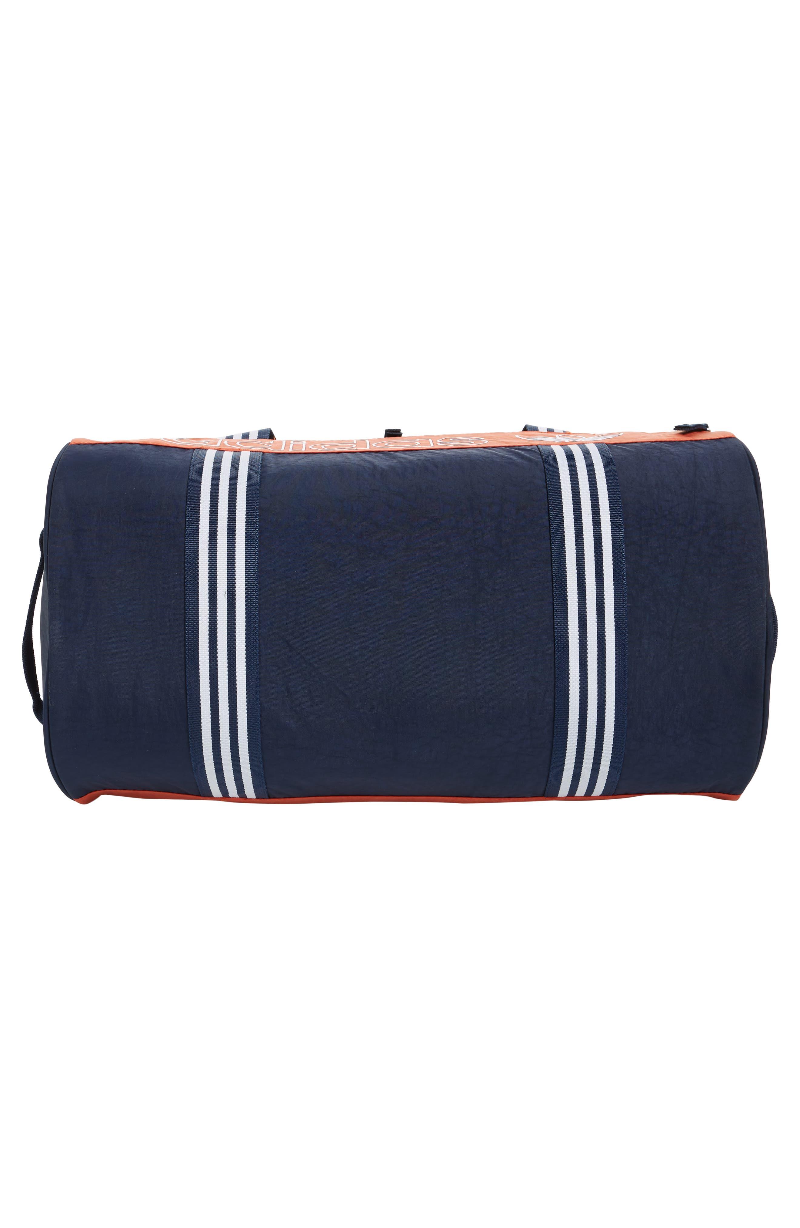 ADIDAS ORIGINALS, adidas Spirit Roll Duffle Bag, Alternate thumbnail 6, color, COLLEGIATE NAVY/ AMBER/ WHITE