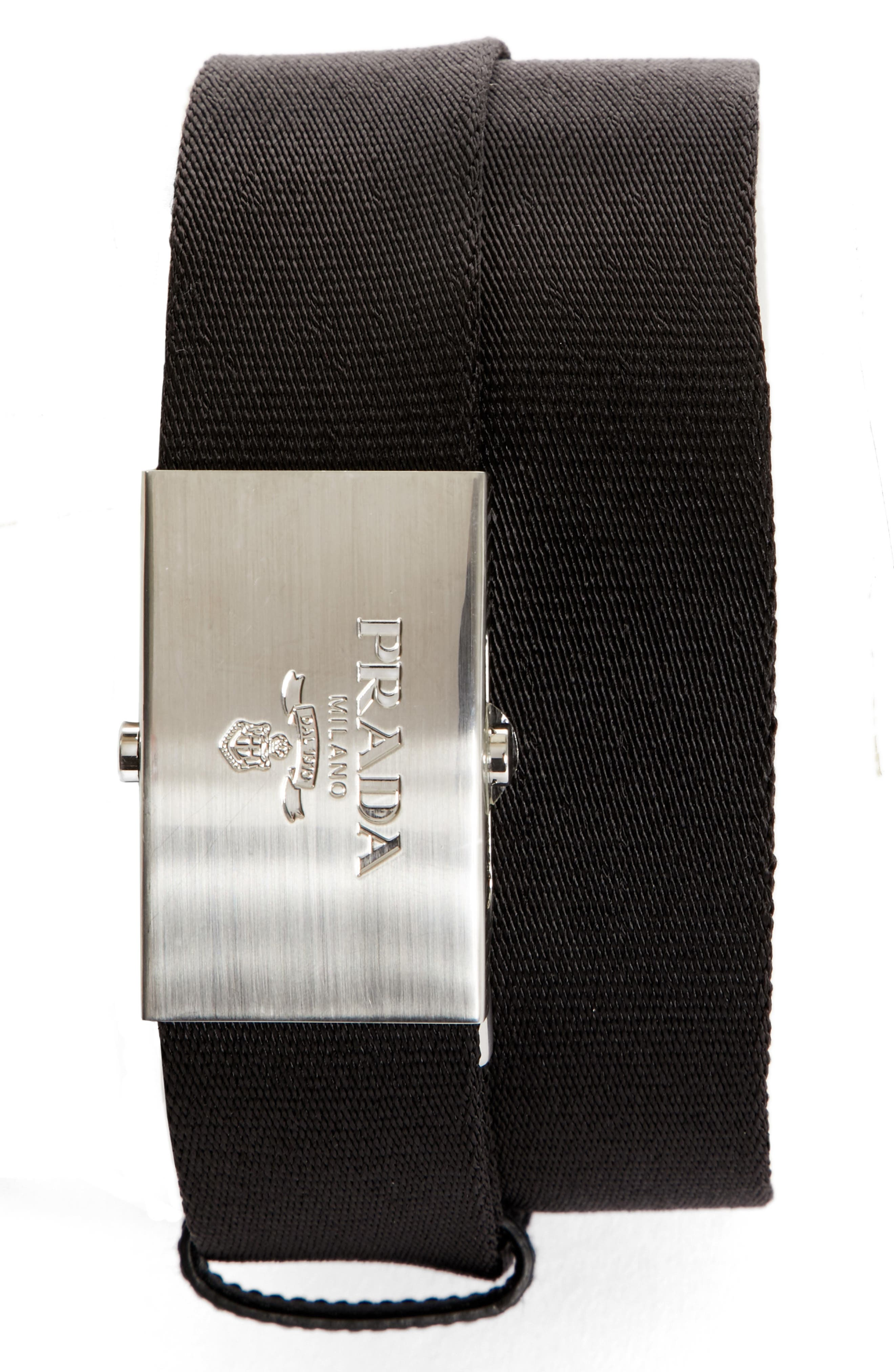 PRADA, Nastro Nylon Belt, Main thumbnail 1, color, NERO