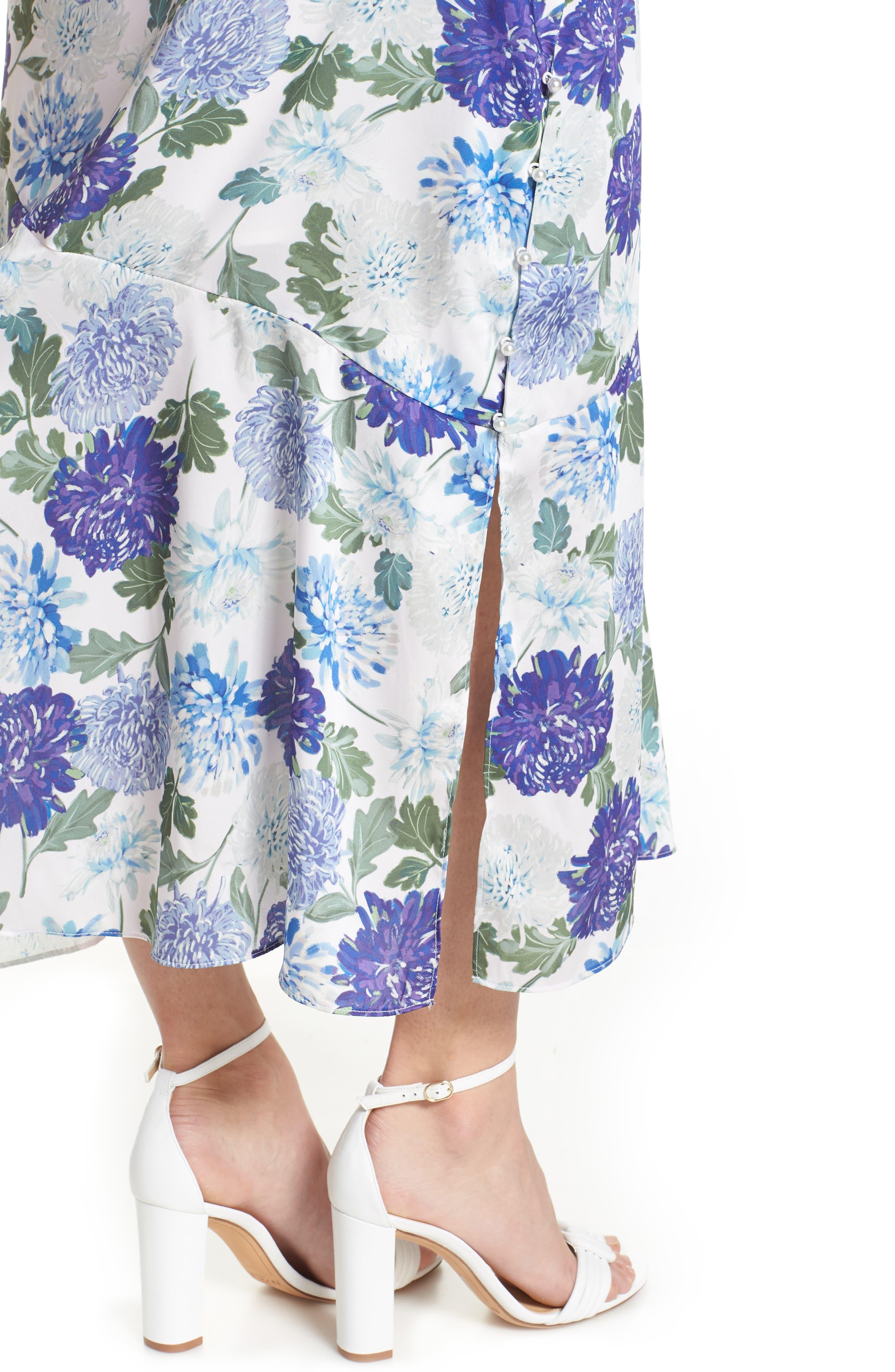 SAM EDELMAN, Vintage Floral Midi Dress, Alternate thumbnail 5, color, PURPLE MULTI