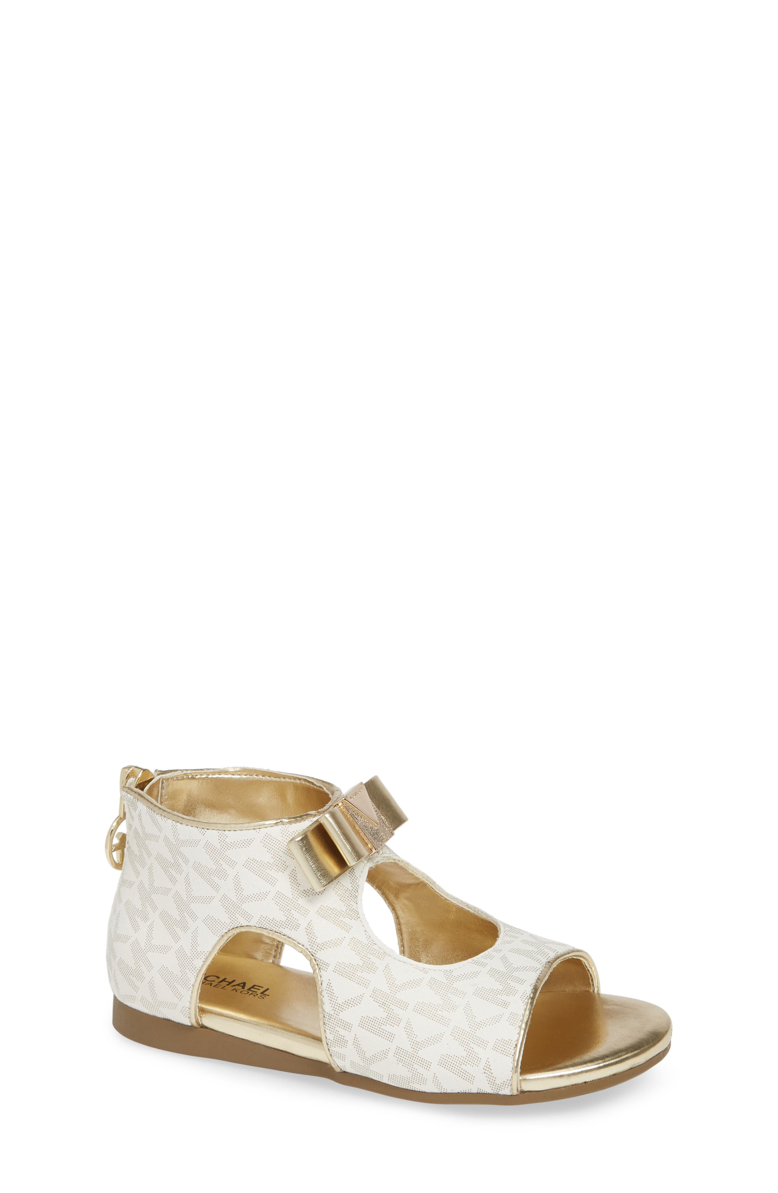 MICHAEL MICHAEL KORS, Tilly Dahna Logo Sandal, Main thumbnail 1, color, GOLD/ WHITE