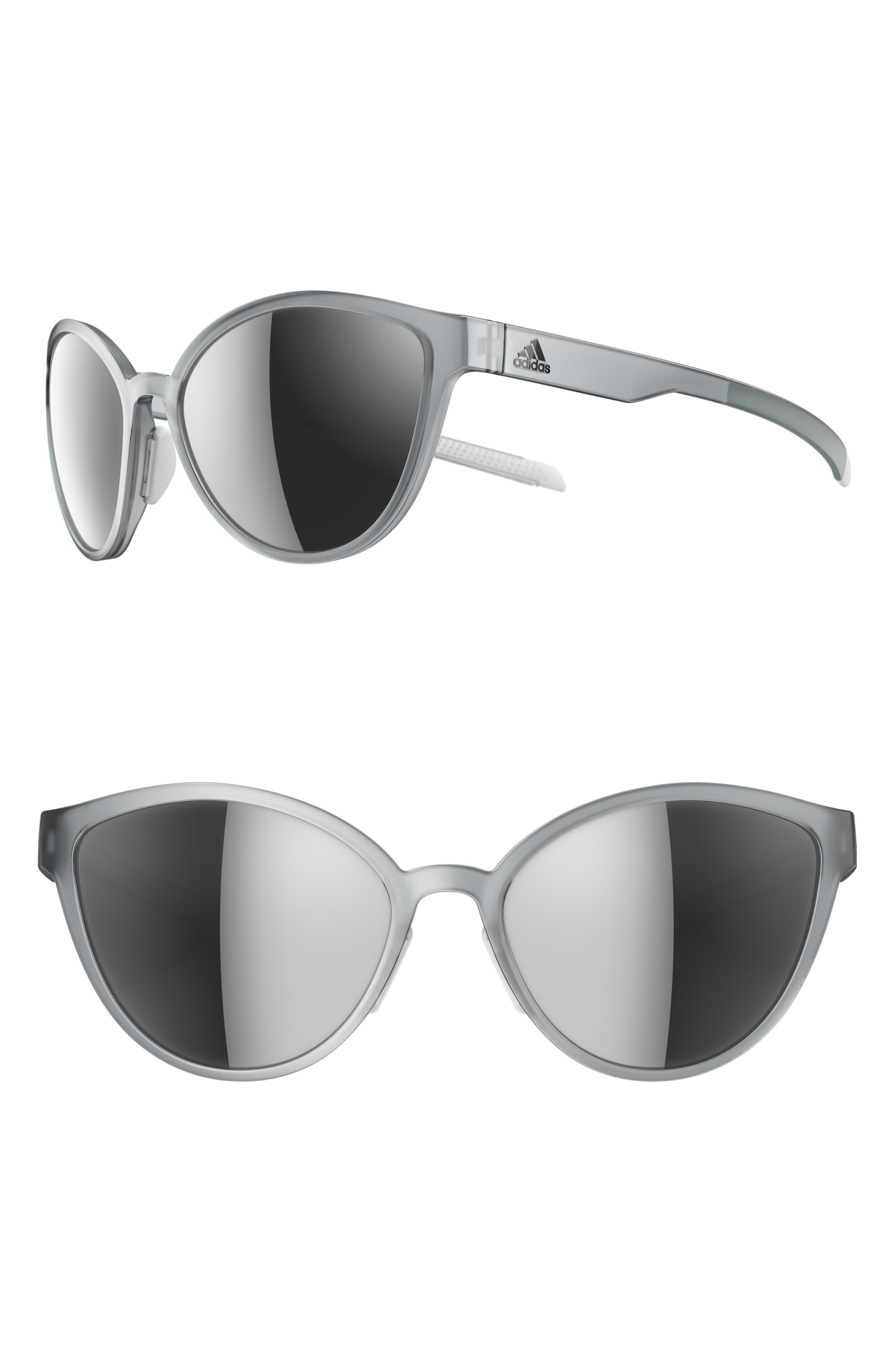 ADIDAS Tempest 56mm Mirrored Cat Eye Running Sunglasses, Main, color, CRYSTAL GREY/ CHROME