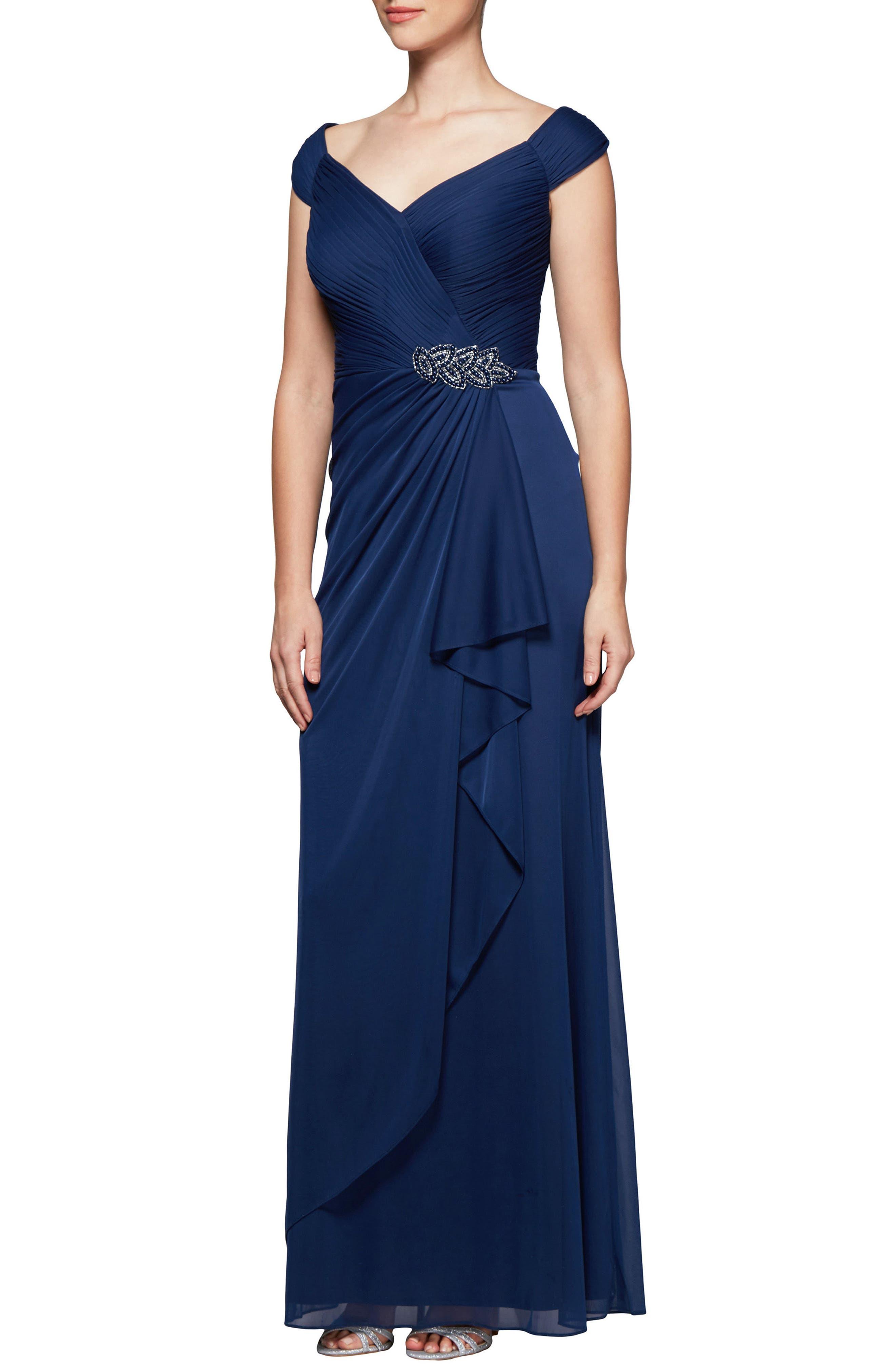Alex Evenings Embellished Pleat Gown, Purple