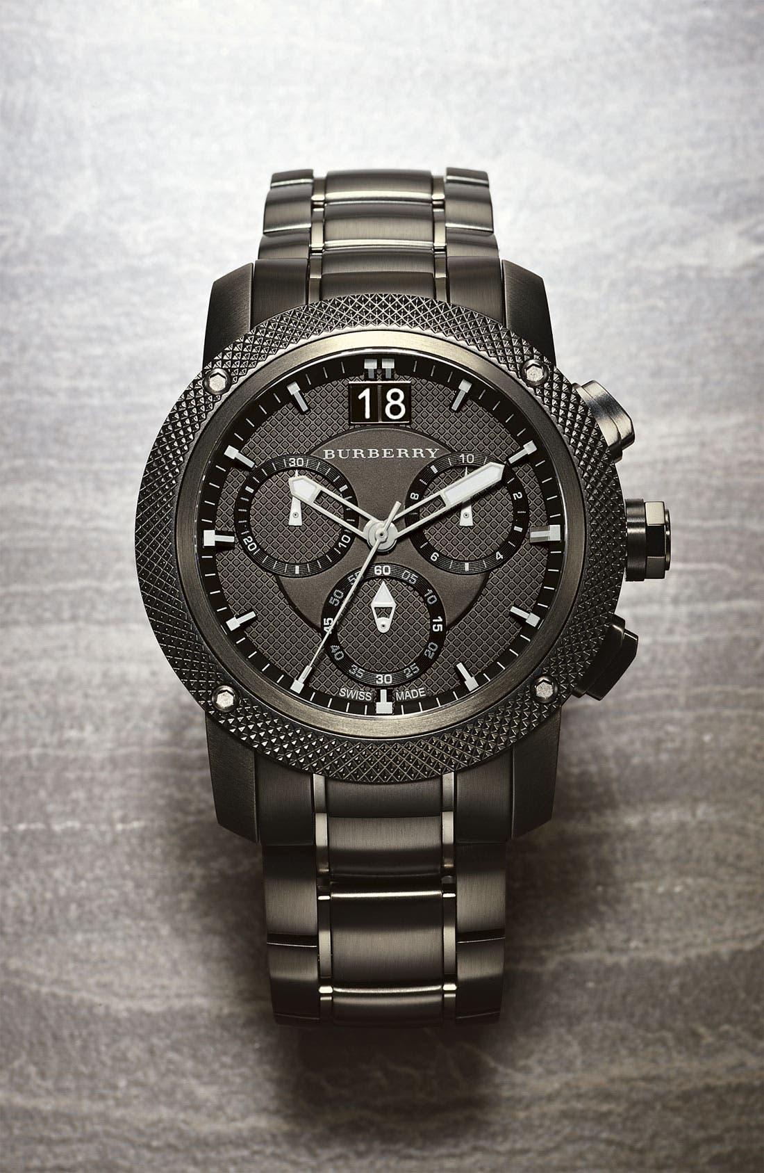 BURBERRY, Chronograph Bracelet Watch, 46mm, Alternate thumbnail 3, color, 020
