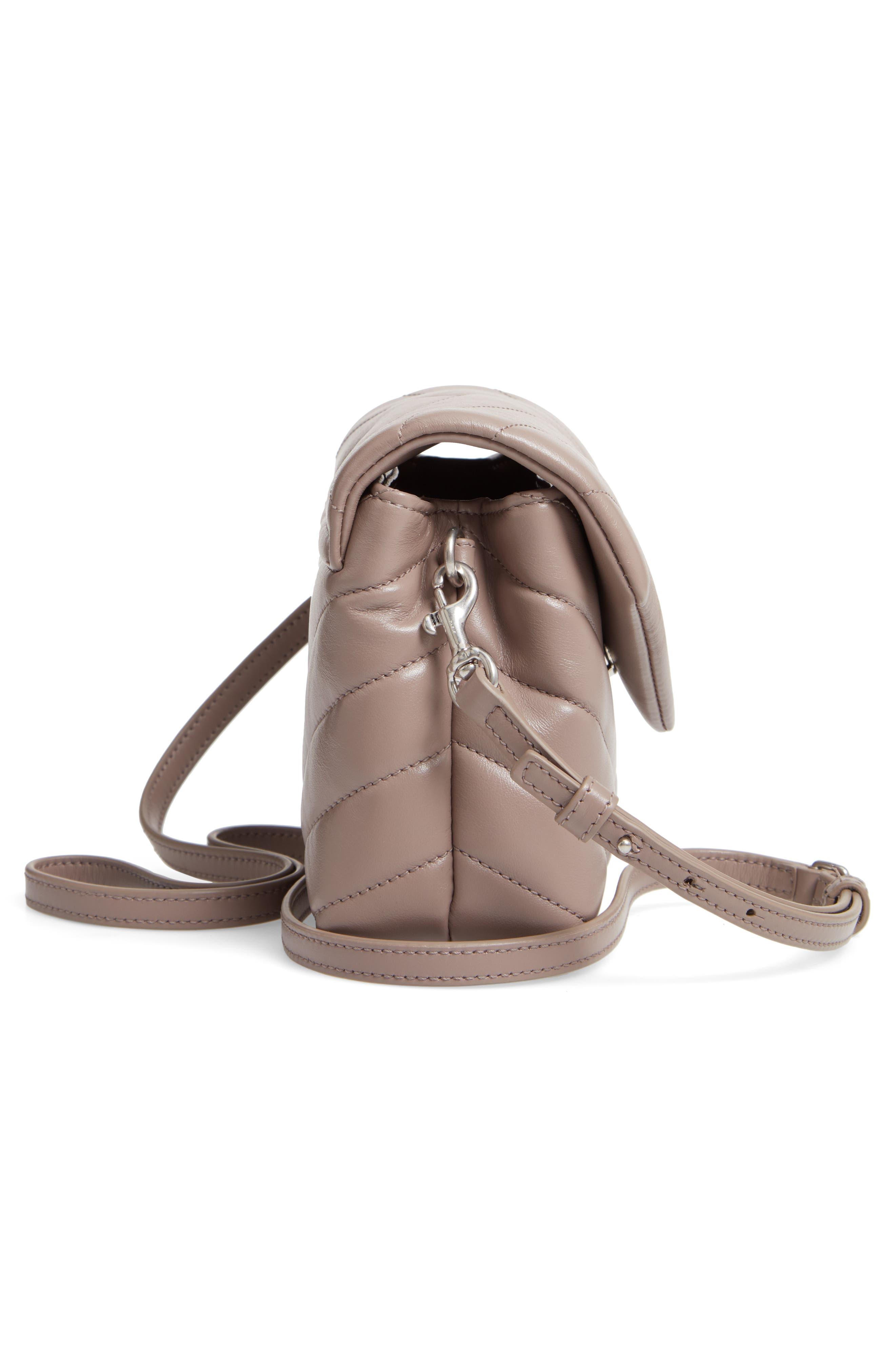SAINT LAURENT, Toy Loulou Calfskin Leather Crossbody Bag, Alternate thumbnail 5, color, MINK