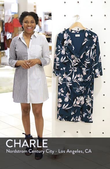 Faux Wrap Floral Shirtdress, sales video thumbnail