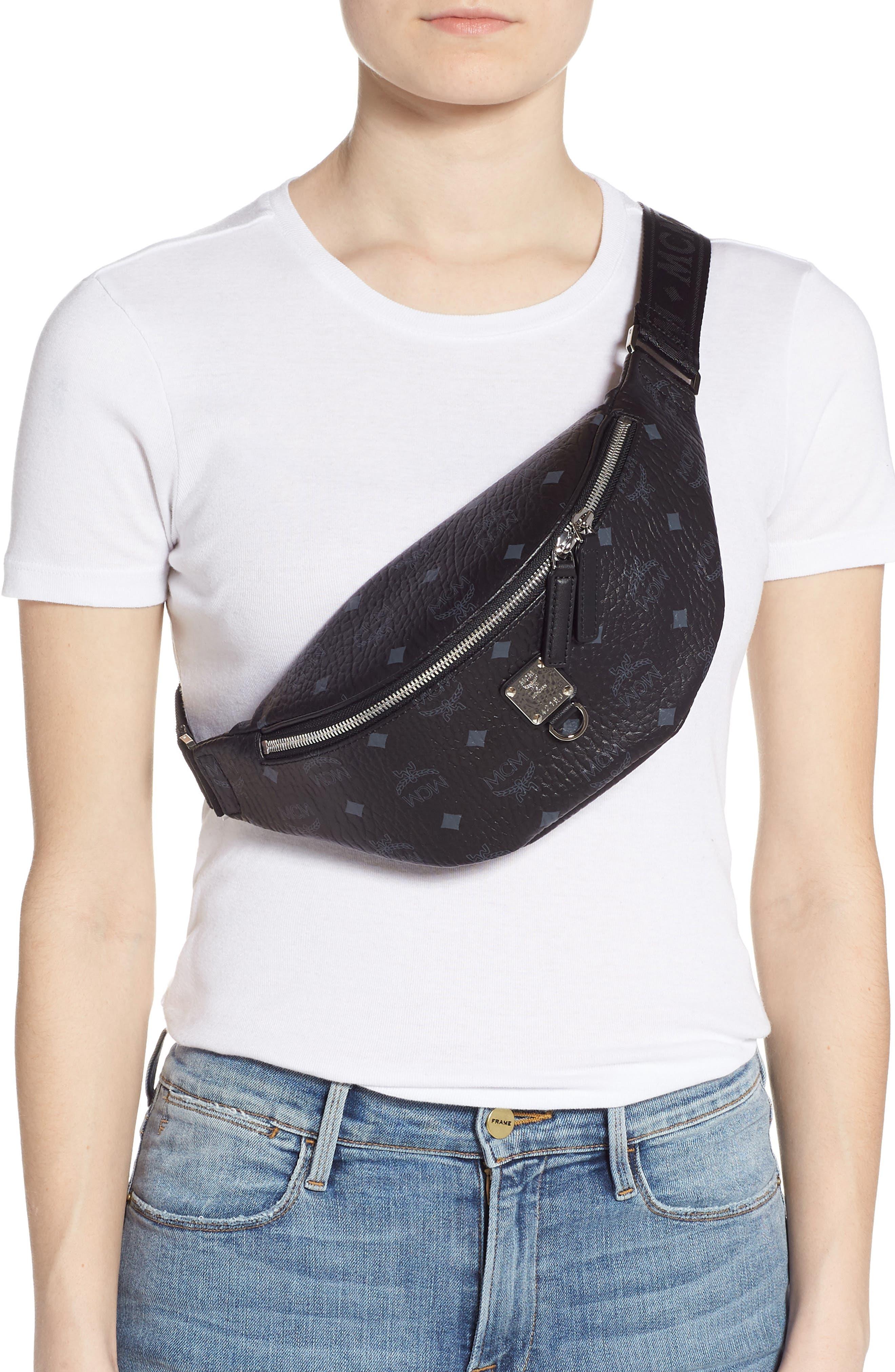 MCM, Fursten Visetos Small Belt Bag, Alternate thumbnail 4, color, BLACK