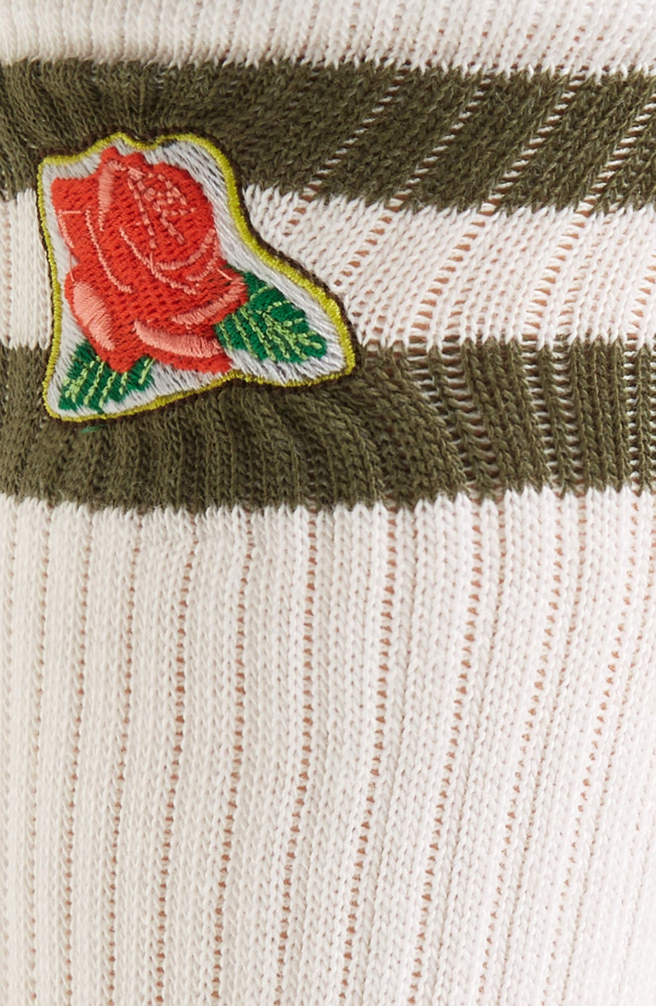 THE RAIL, Embroidered Icon Crew Socks, Alternate thumbnail 2, color, WHITE- GREEN ROSE