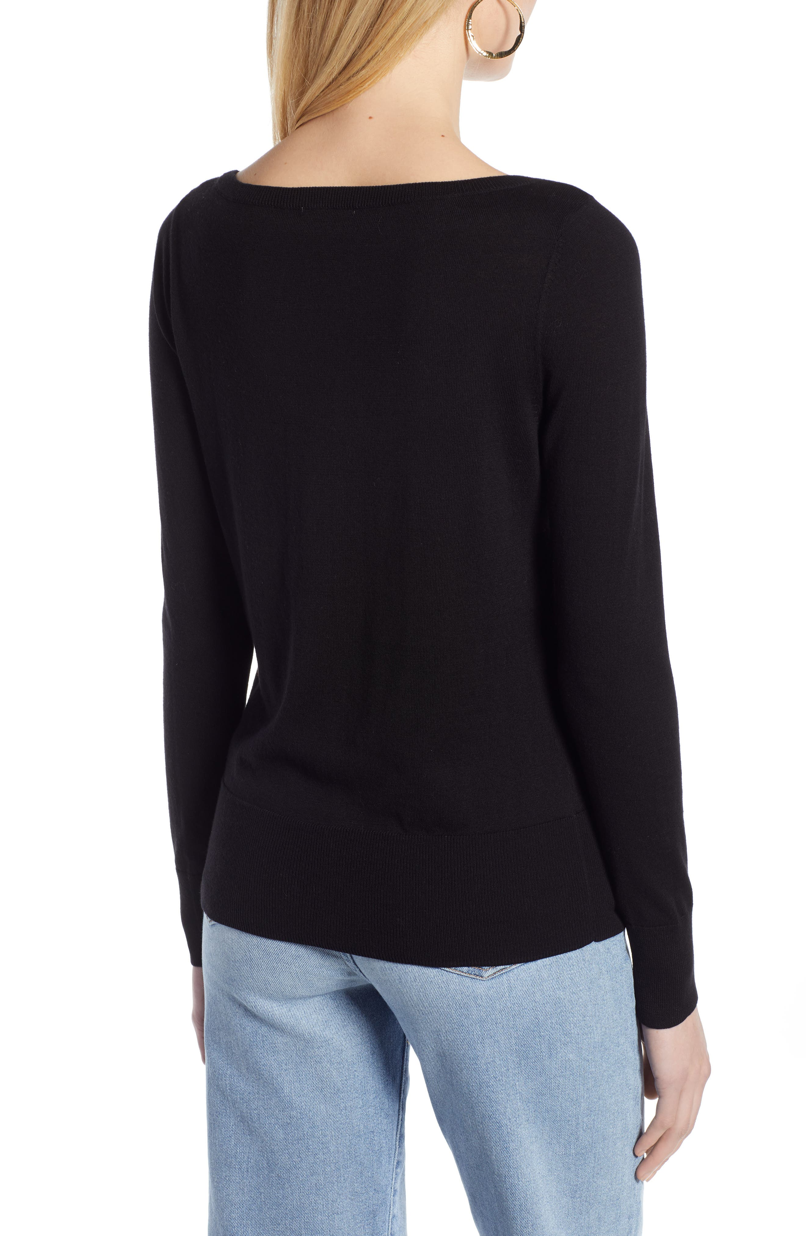 HALOGEN<SUP>®</SUP>, Bateau Neck Sweater, Alternate thumbnail 2, color, BLACK