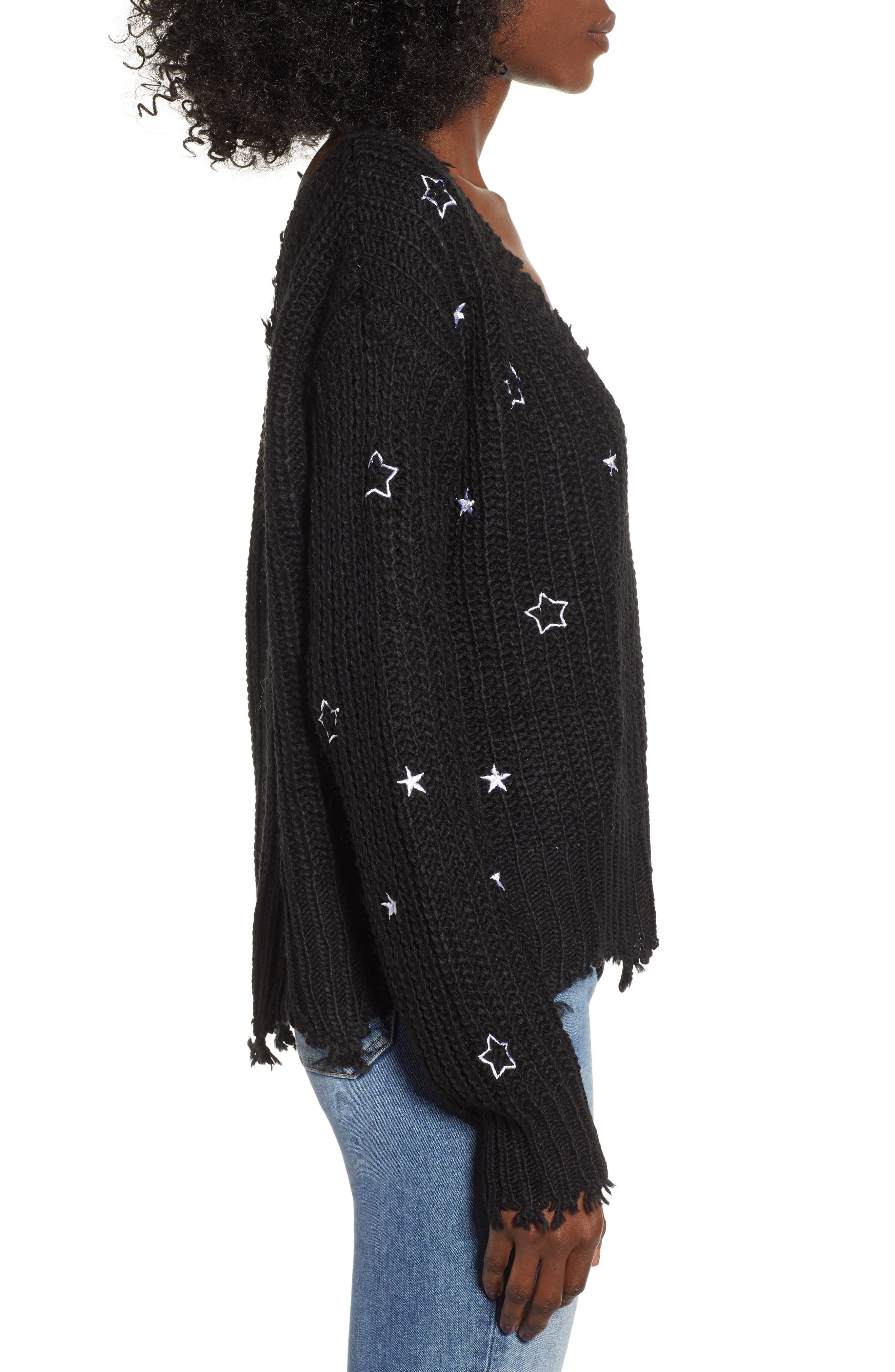 4SI3NNA, Star Sweater, Alternate thumbnail 3, color, 001