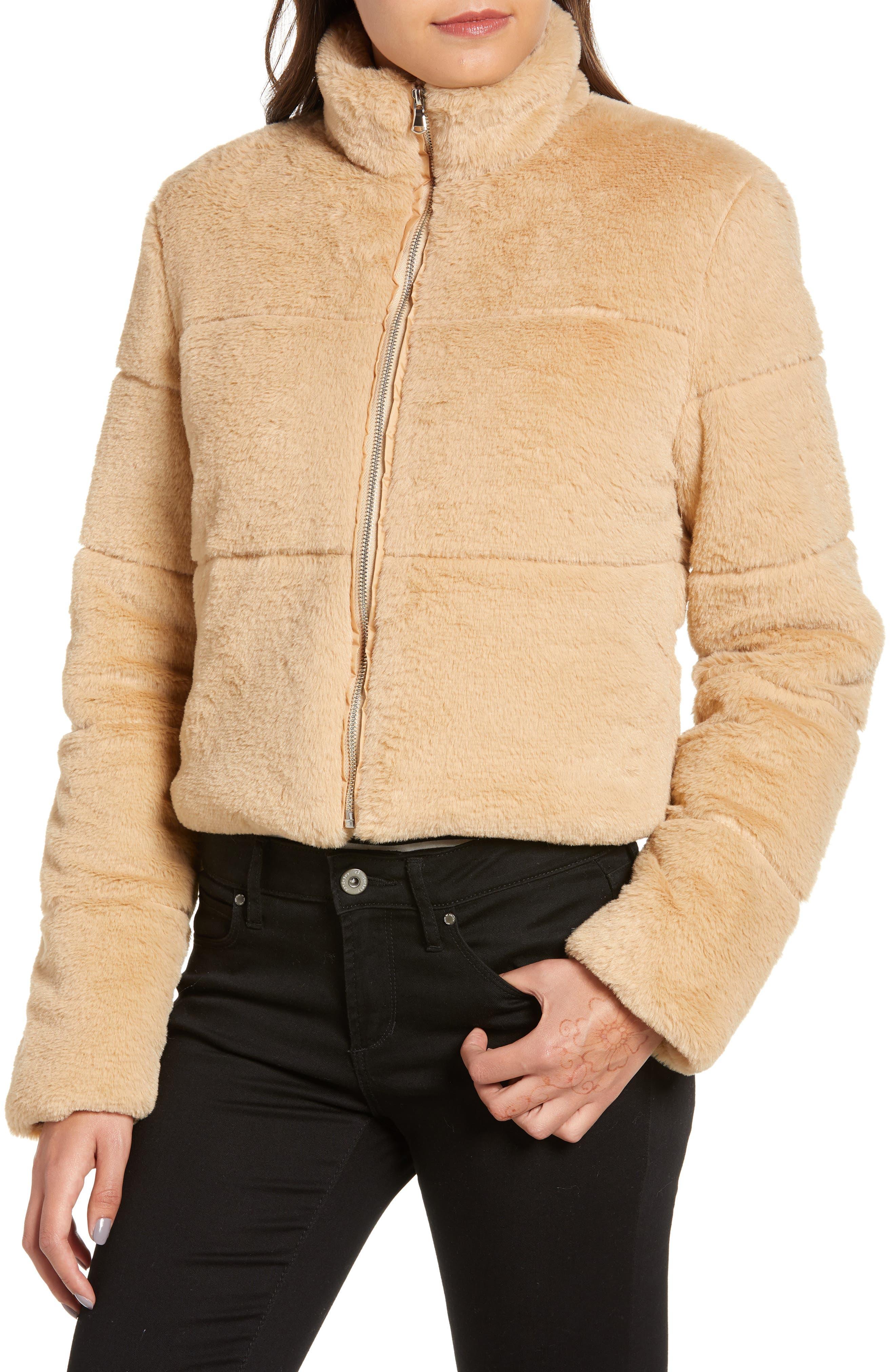 TIGER MIST, Bridget Faux Fur Puffer Jacket, Alternate thumbnail 5, color, 250