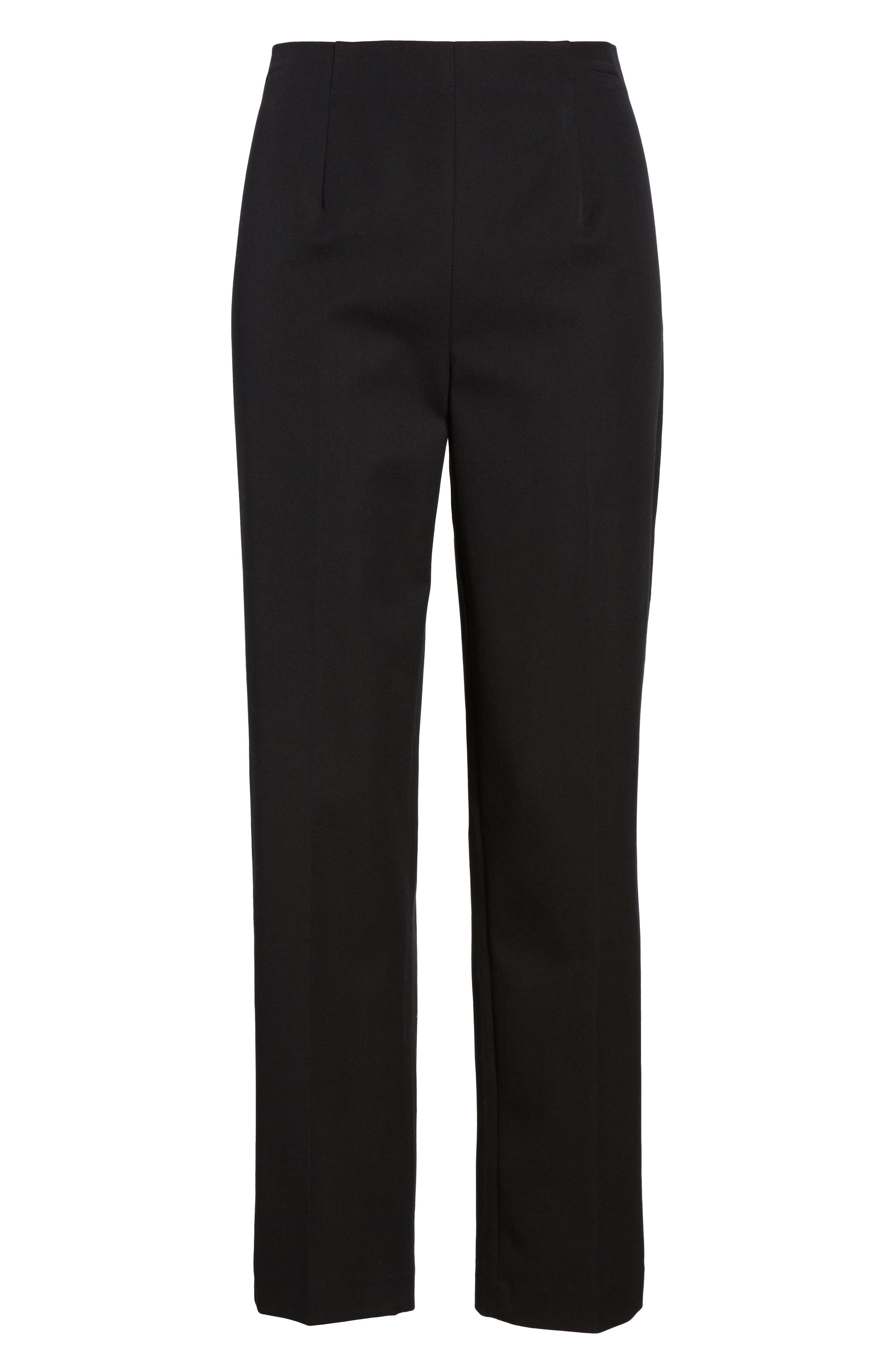 MING WANG, Woven Slim Ankle Pants, Alternate thumbnail 6, color, BLACK