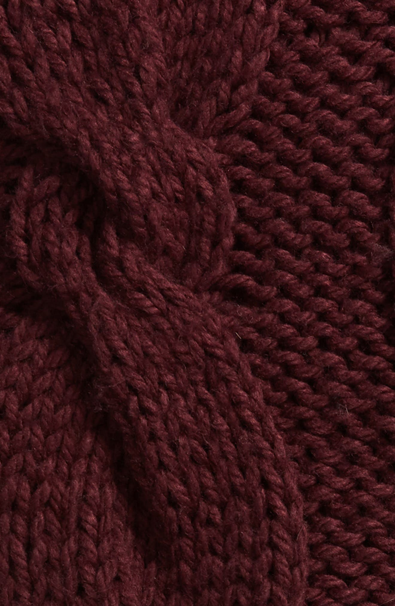 NORDSTROM AT HOME, Cable Knit Tassel Throw Blanket, Alternate thumbnail 2, color, BURGUNDY STEM