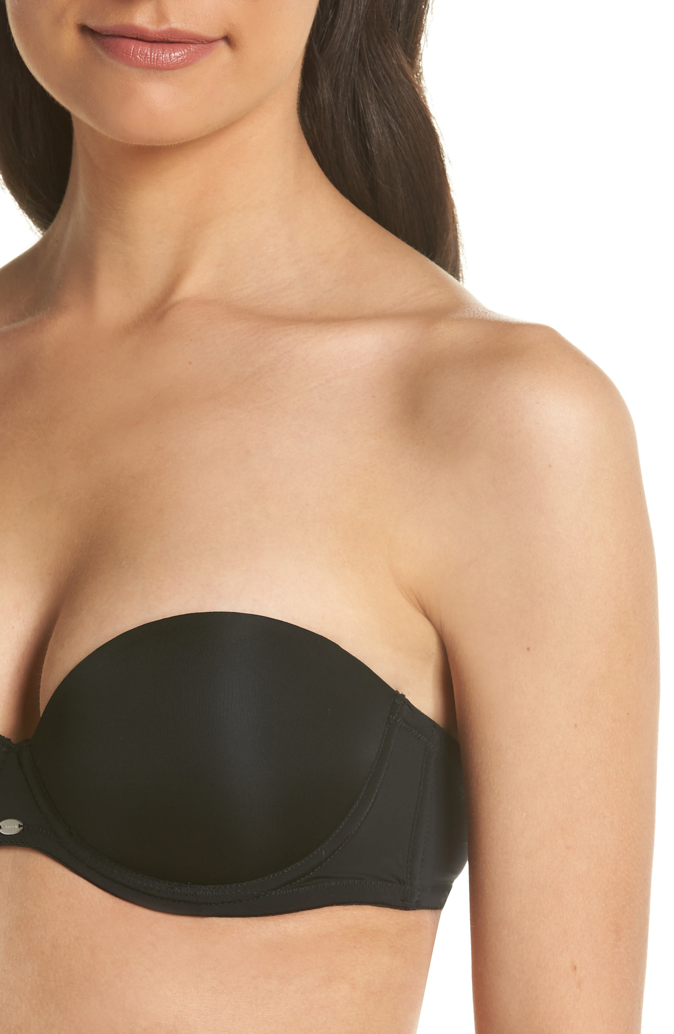 CALVIN KLEIN, 'Naked Glamour' Convertible Strapless Push-Up Bra, Alternate thumbnail 7, color, BLACK
