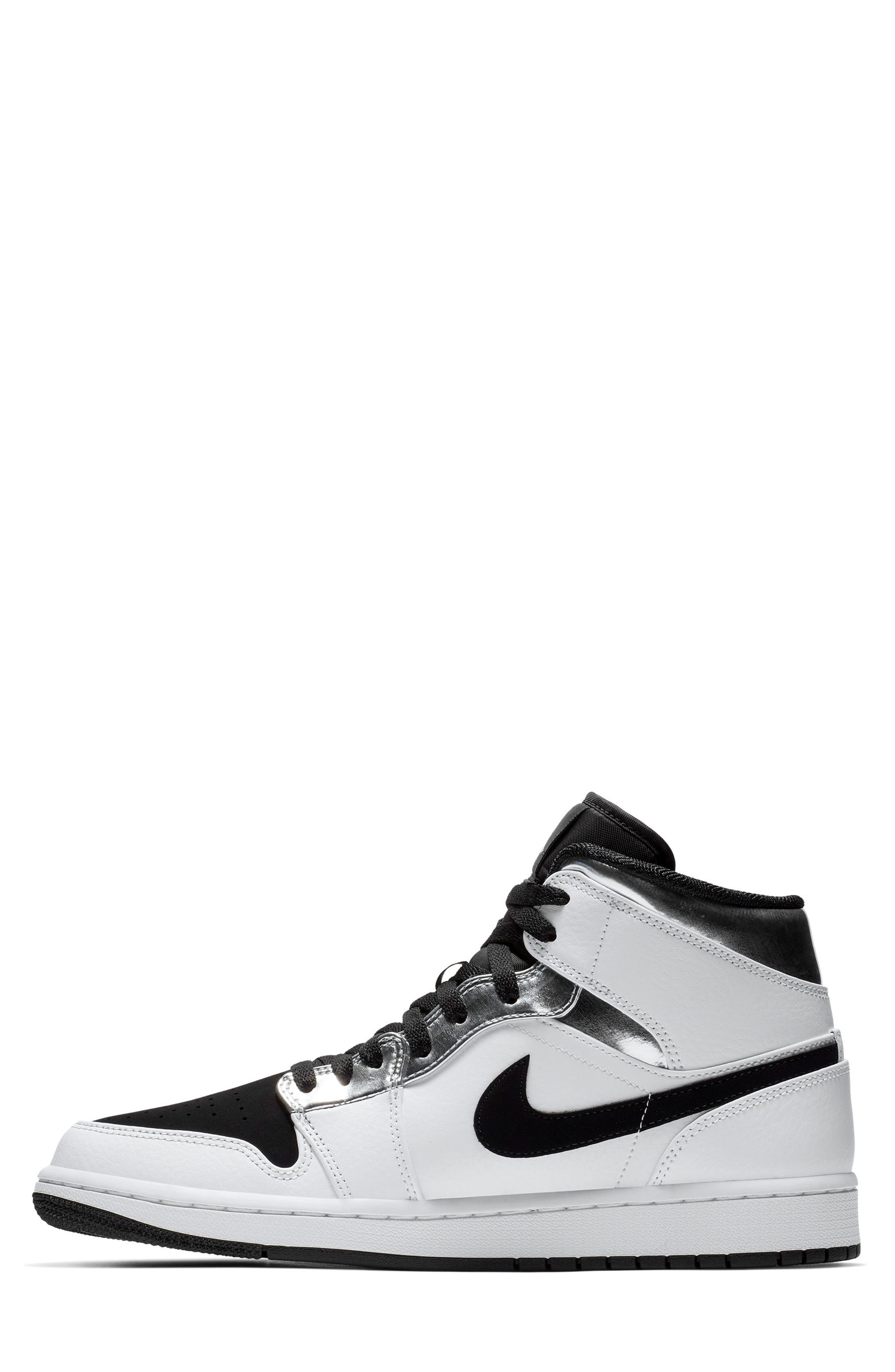 NIKE, 'Air Jordan 1 Mid' Sneaker, Alternate thumbnail 7, color, WHITE/ METALLIC SILVER/ BLACK