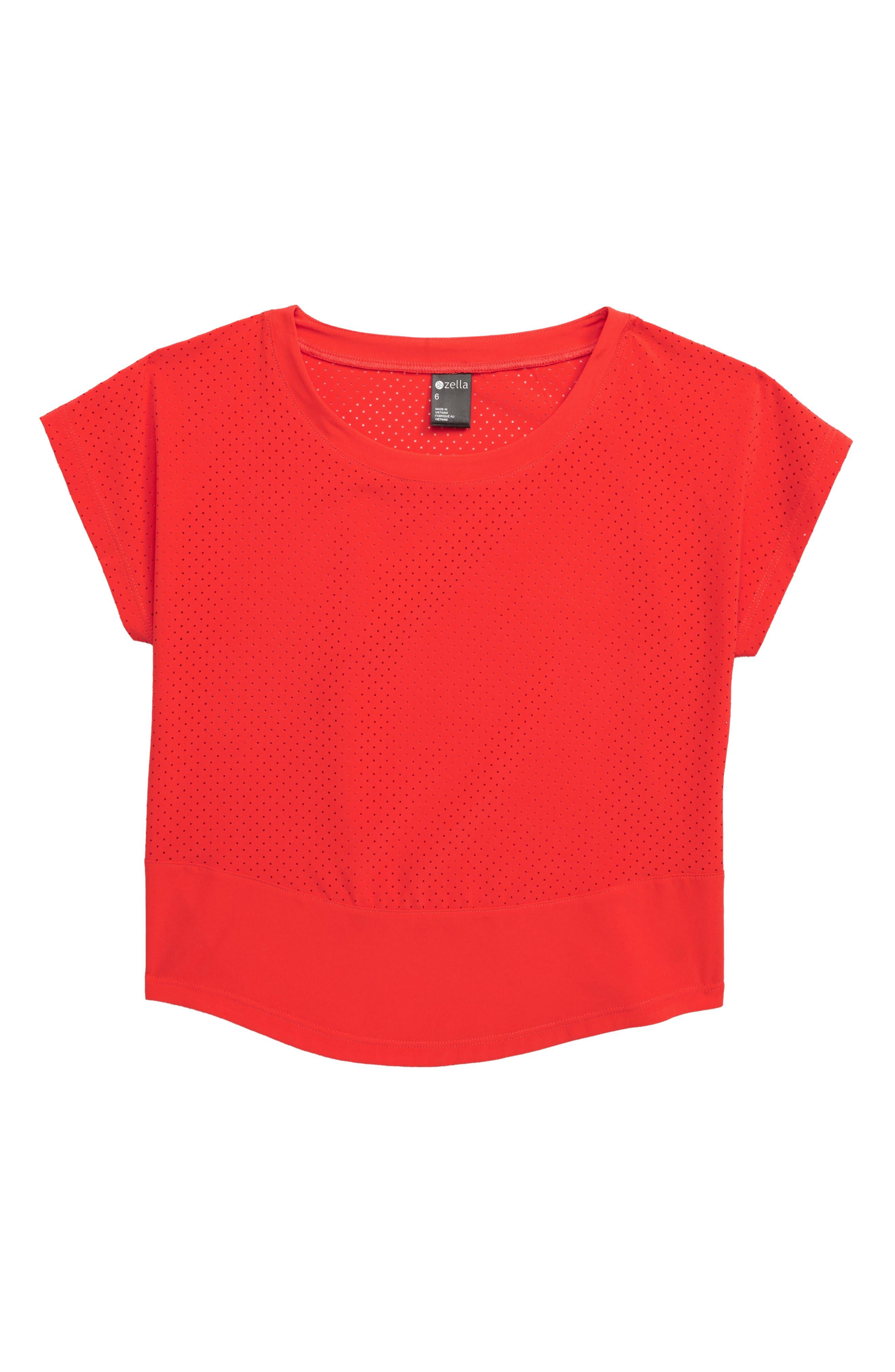 ZELLA GIRL, Perforated Shirt, Main thumbnail 1, color, RED POPPY
