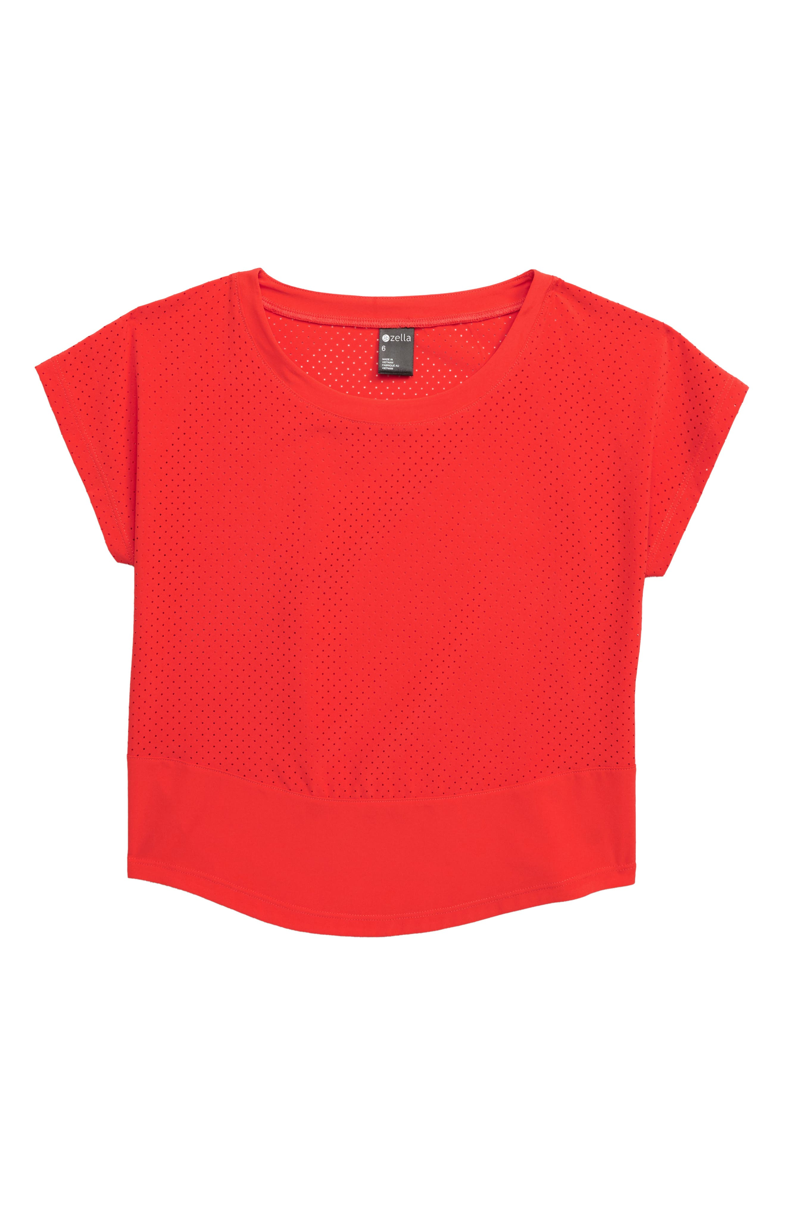 ZELLA GIRL Perforated Shirt, Main, color, RED POPPY