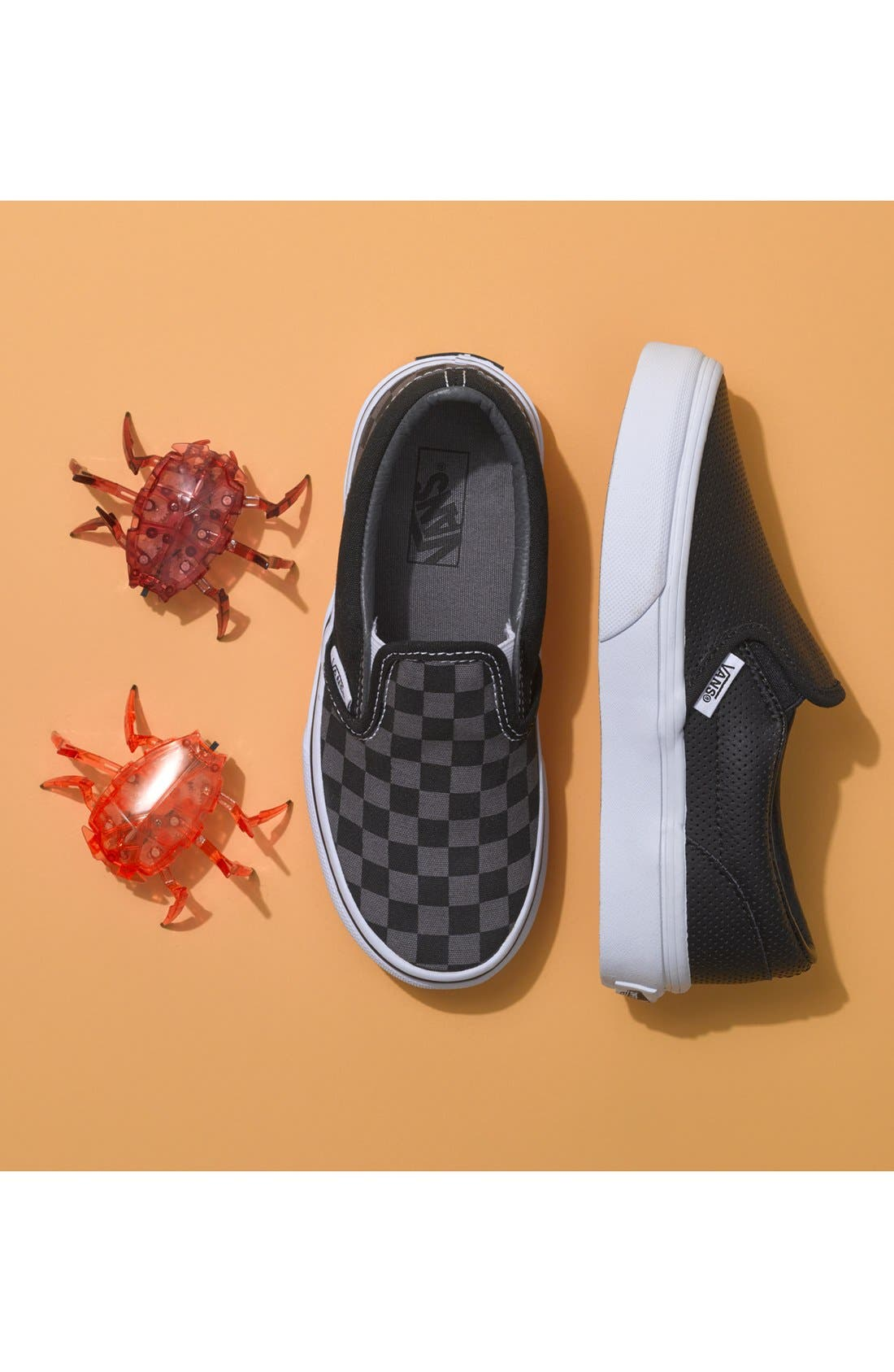 VANS, 'Classic' Slip-On Sneaker, Alternate thumbnail 5, color, BLACK LEATHER