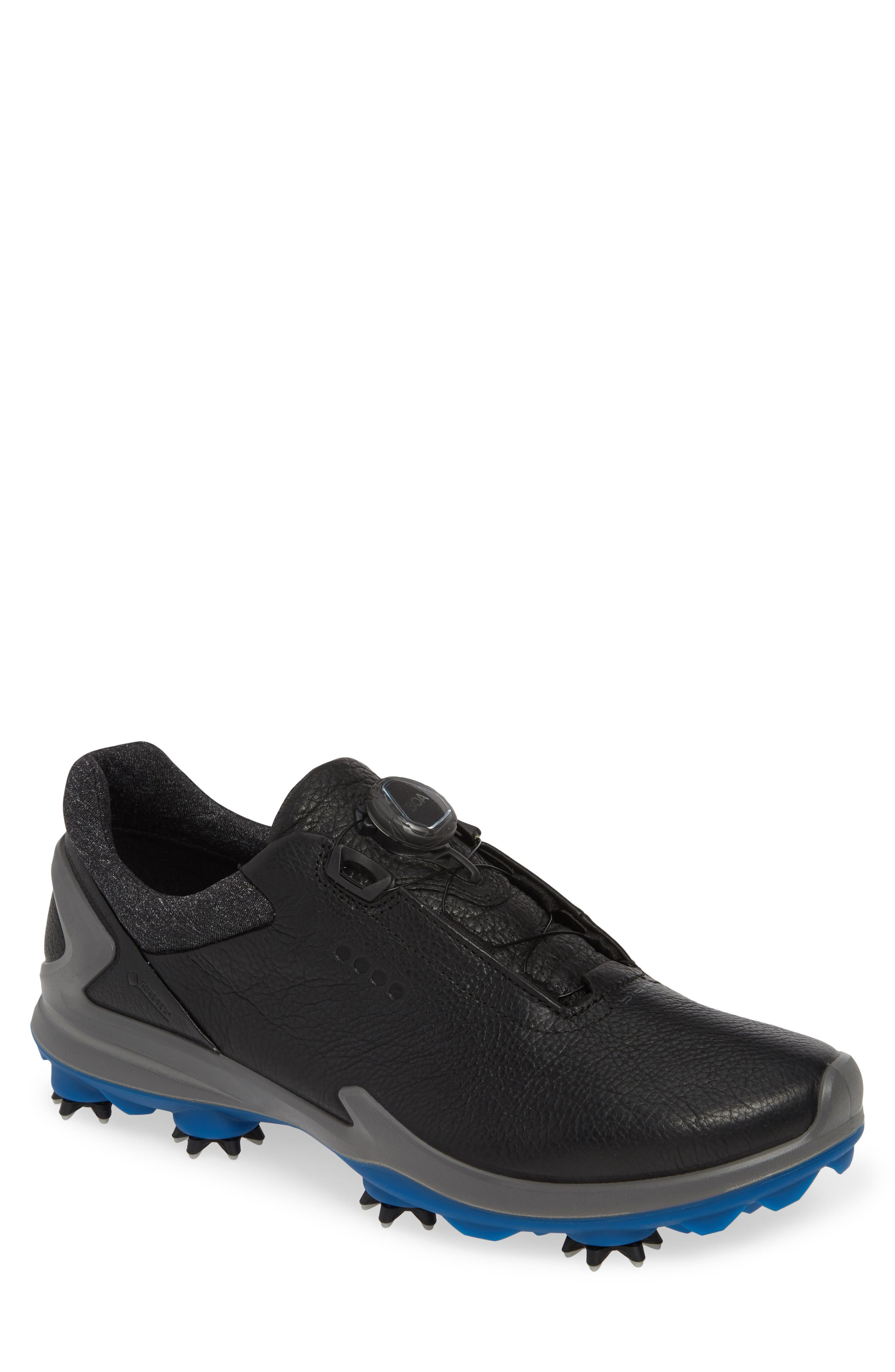 ECCO BIOM<sup>®</sup> G 3 BOA<sup>®</sup> Gore-Tex<sup>®</sup> Golf Shoe, Main, color, BLACK LEATHER