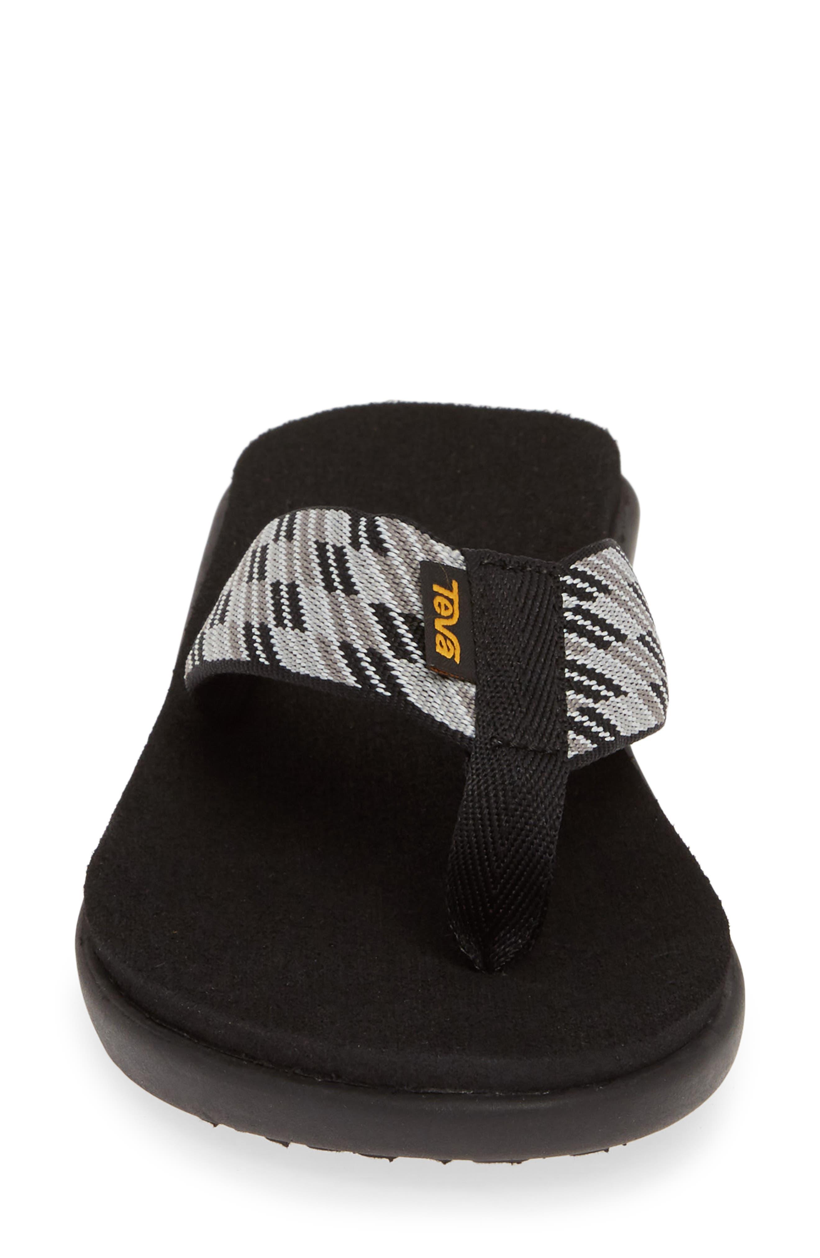 TEVA, Voya Wedge Flip Flop, Alternate thumbnail 4, color, BLACK WHITE FABRIC