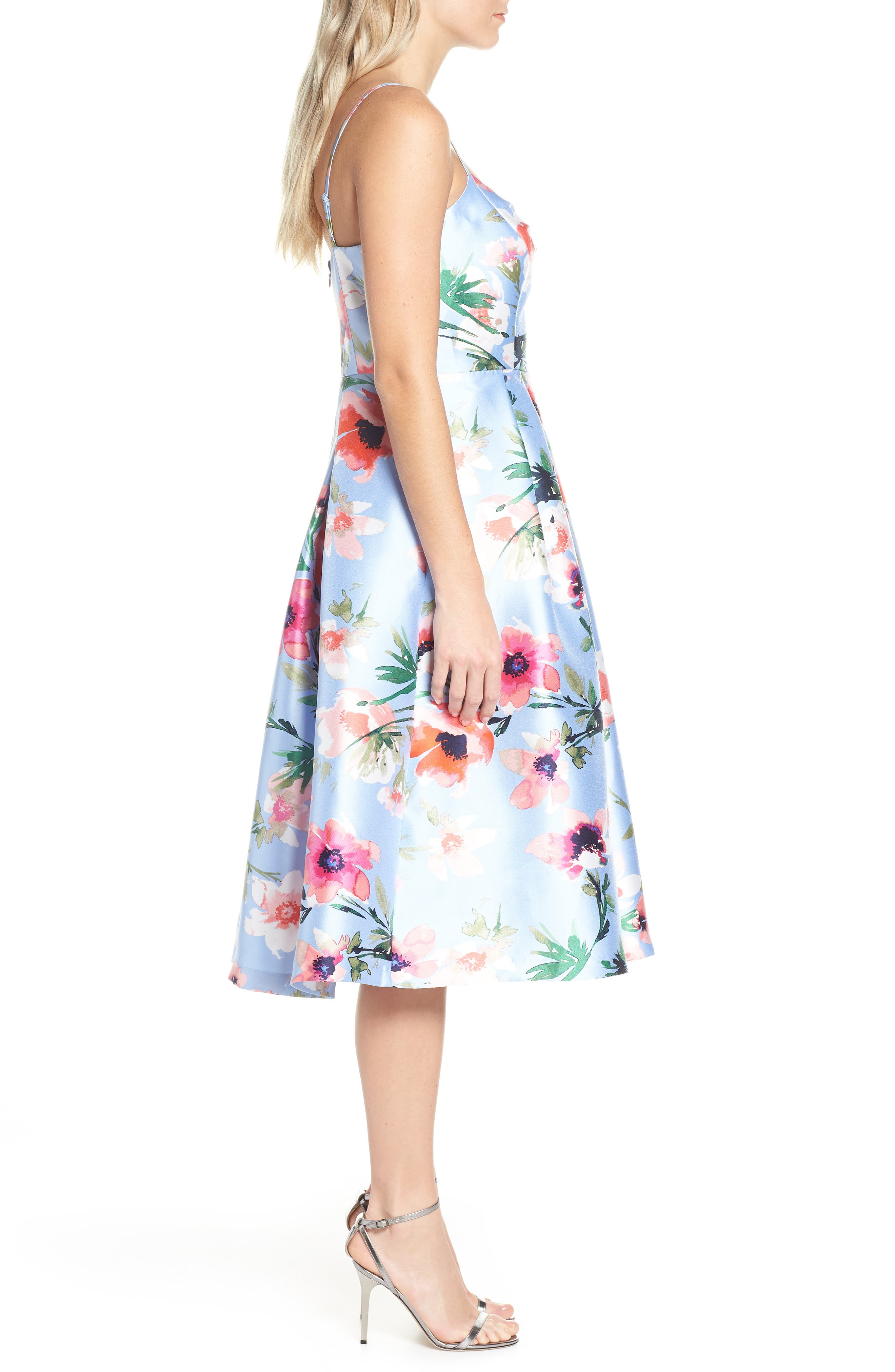 ELIZA J, Floral Print Satin Cocktail Dress, Alternate thumbnail 4, color, BLUE