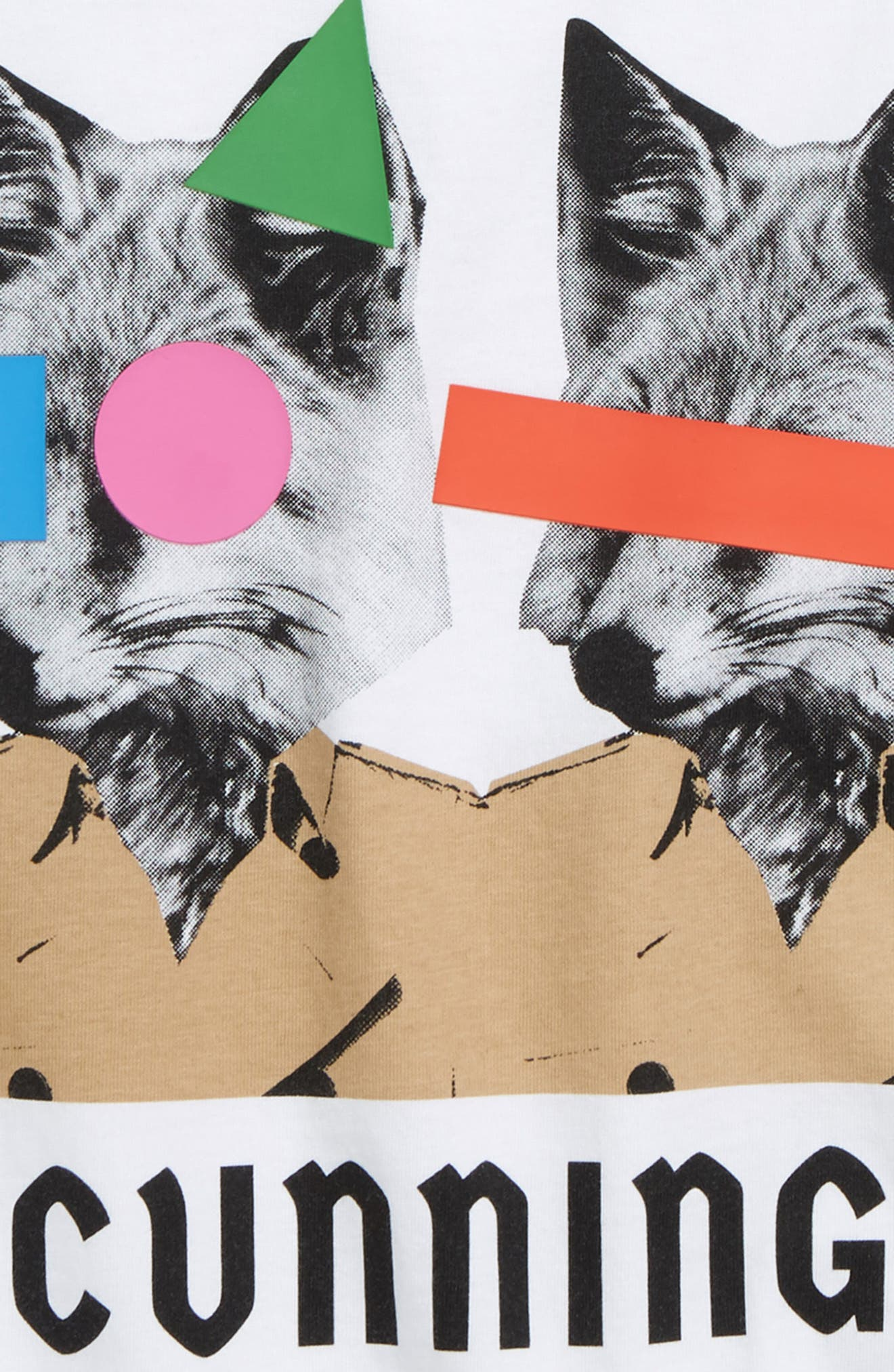 BURBERRY, Fox T-Shirt, Alternate thumbnail 2, color, WHITE