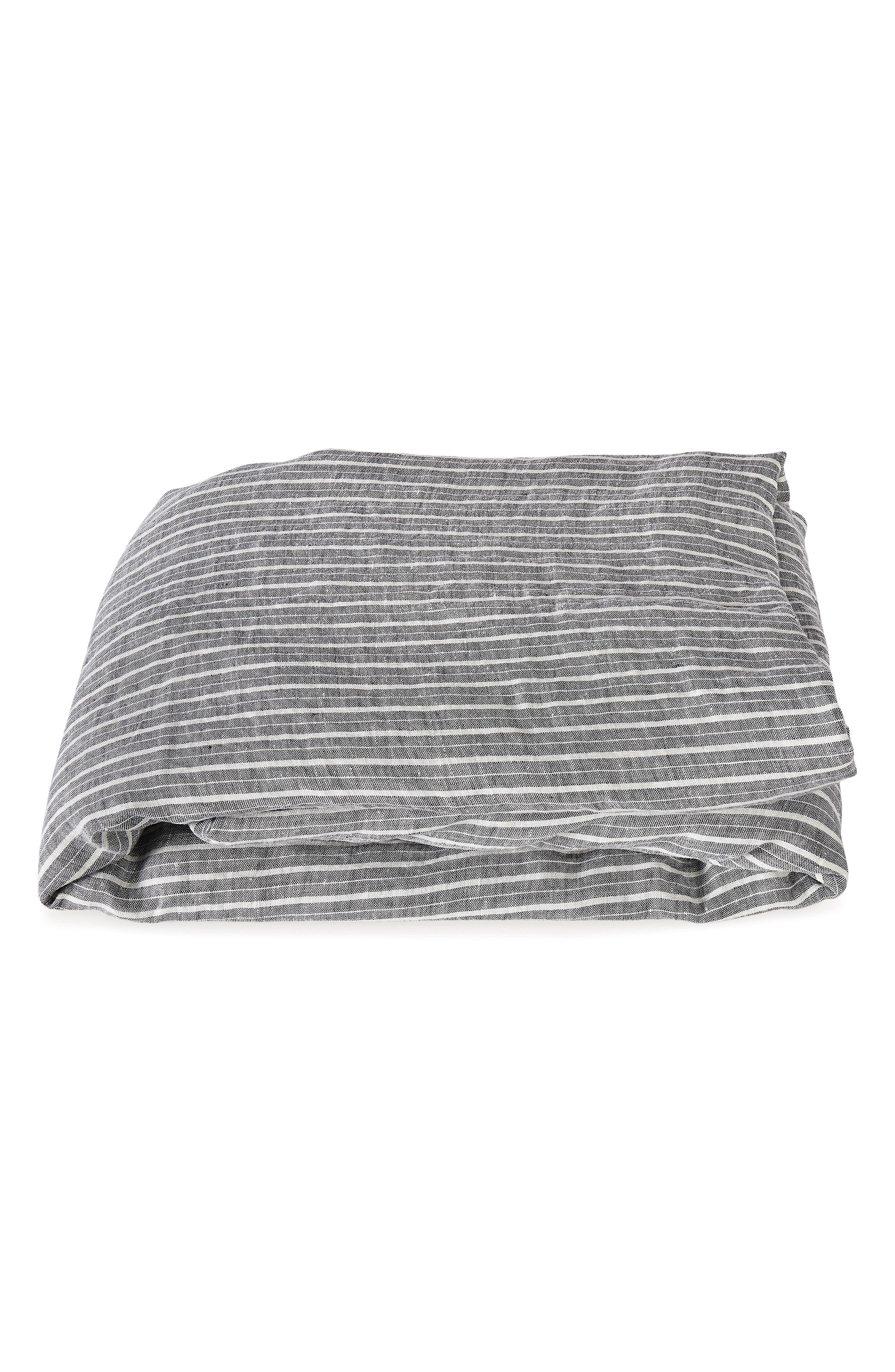 Matouk Tristen Linen Fitted Sheet Size Queen  Grey