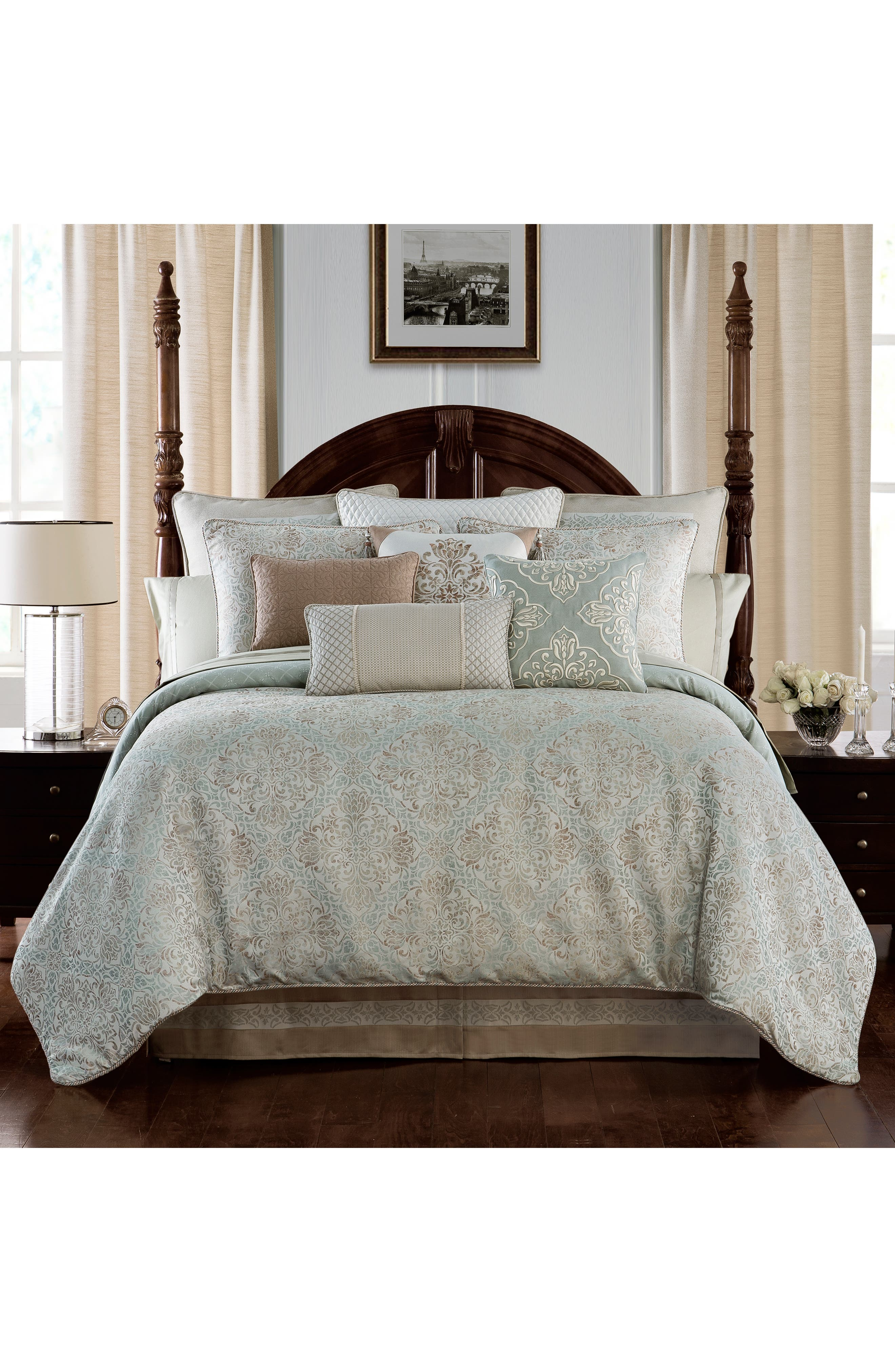 WATERFORD, Gwyneth Reversible Comforter, Sham & Bedskirt Set, Main thumbnail 1, color, PALE BLUE